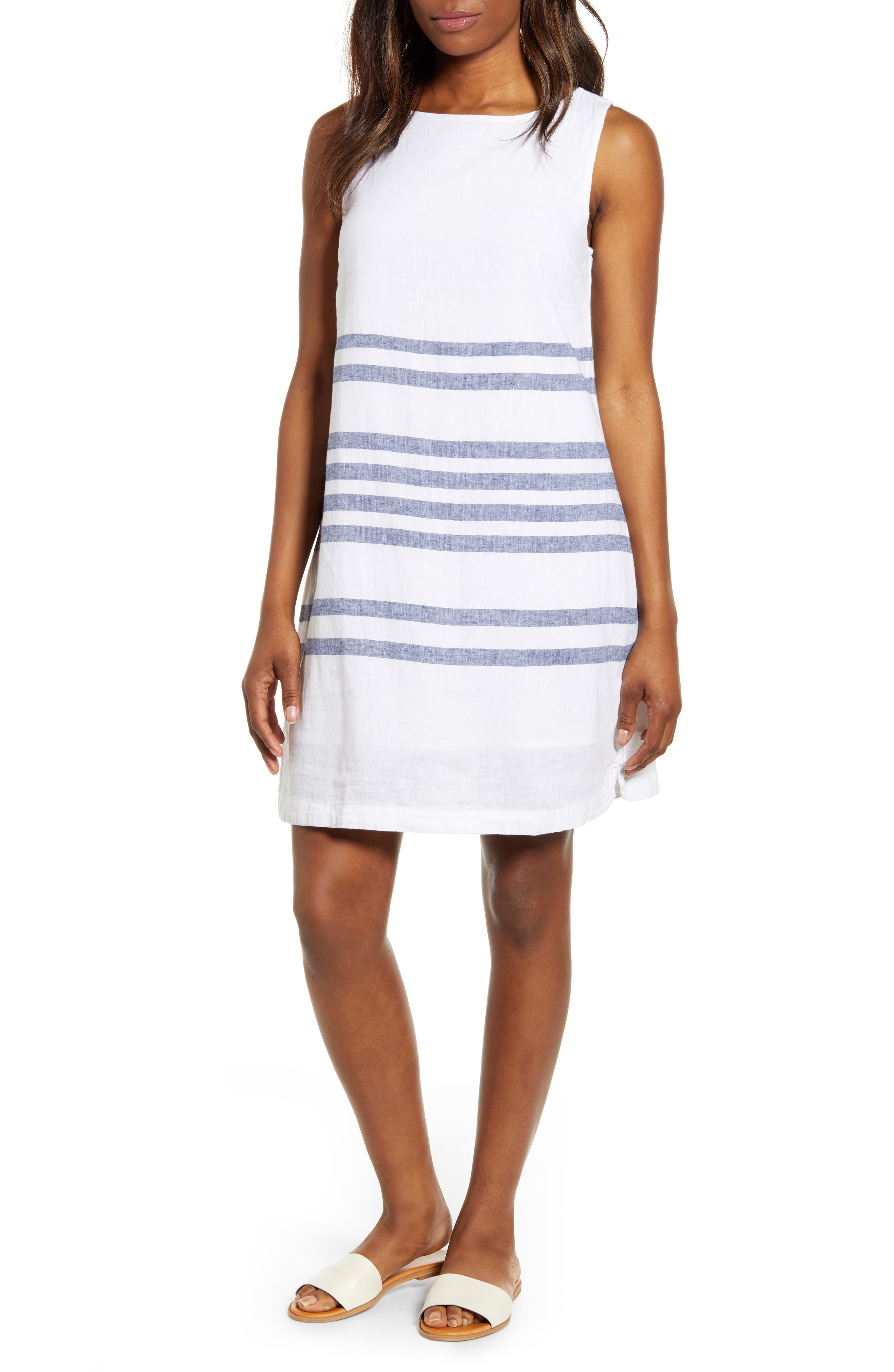 Beachlunchlounge Alina Stripe Linen & Cotton Shift Dress, White