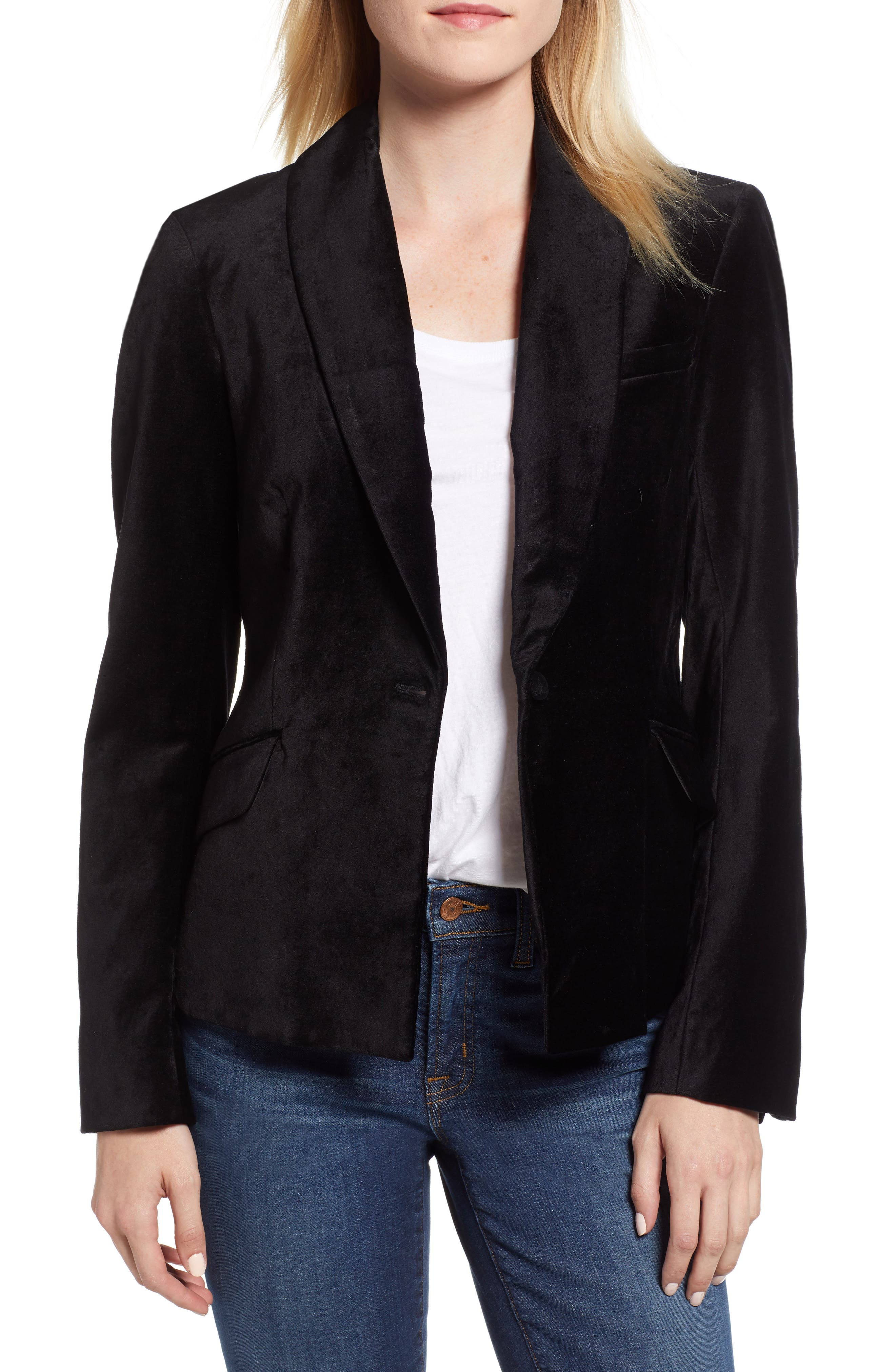 JEN7 BY 7 FOR ALL MANKIND, Stretch Cotton Velvet Blazer, Main thumbnail 1, color, BLACK