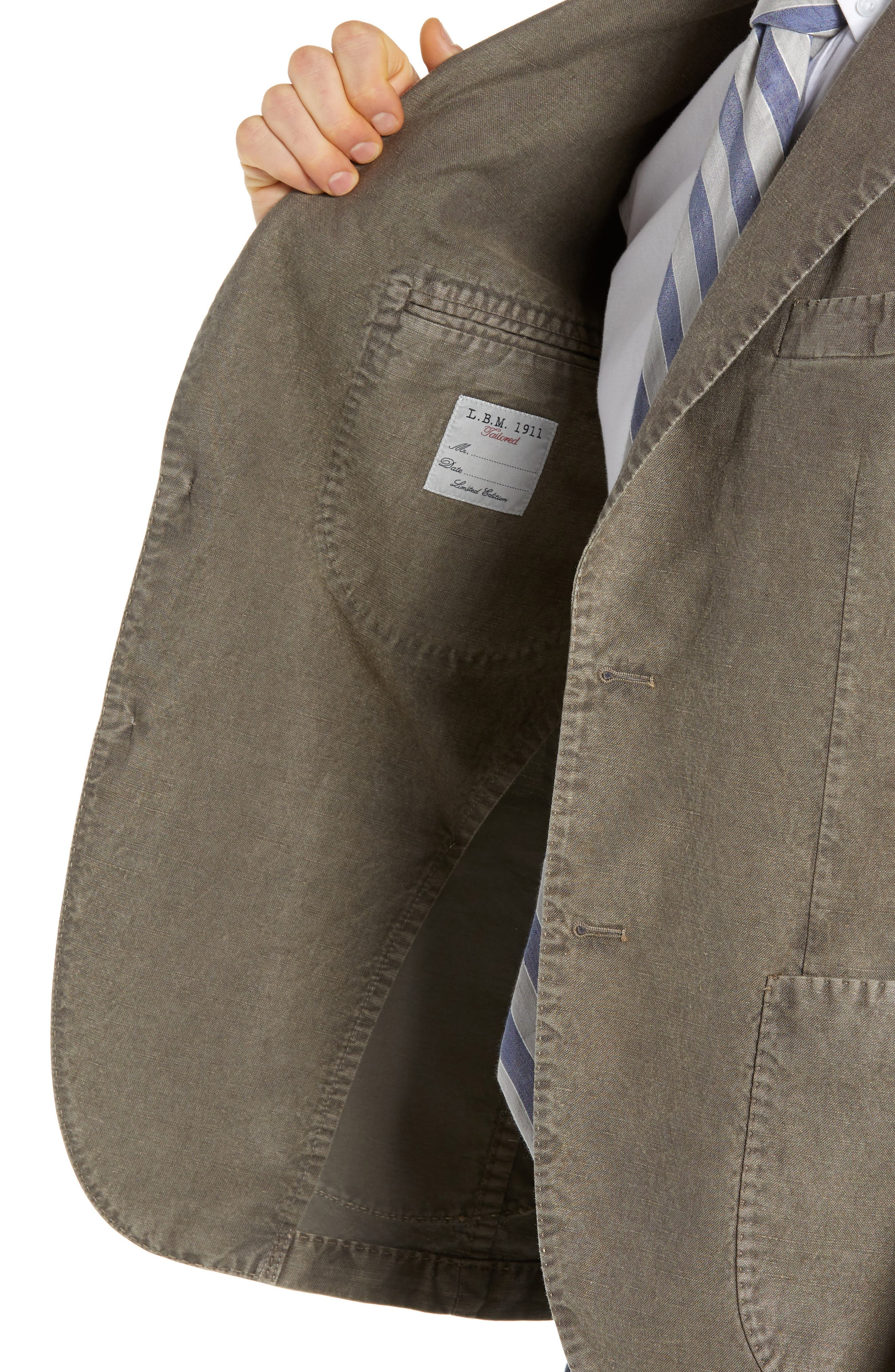 L.B.M. 1911, Lubiam Trim Fit Solid Cotton & Linen Sport Coat, Alternate thumbnail 4, color, MEDIUM BROWN