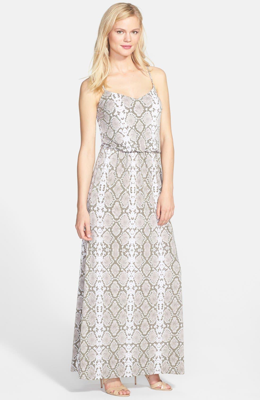 VINCE CAMUTO Snake Print Satin Maxi Dress, Main, color, 250