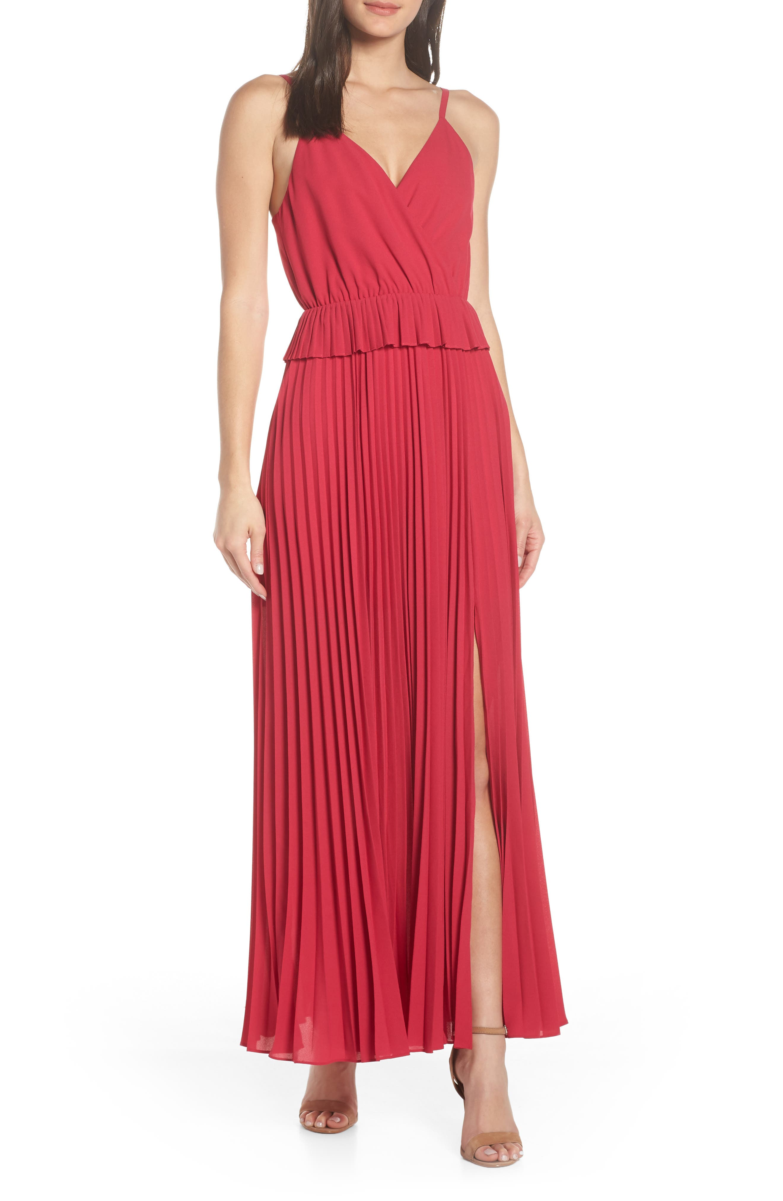ALI & JAY Olivet Pleated Maxi Dress, Main, color, RASPBERRY