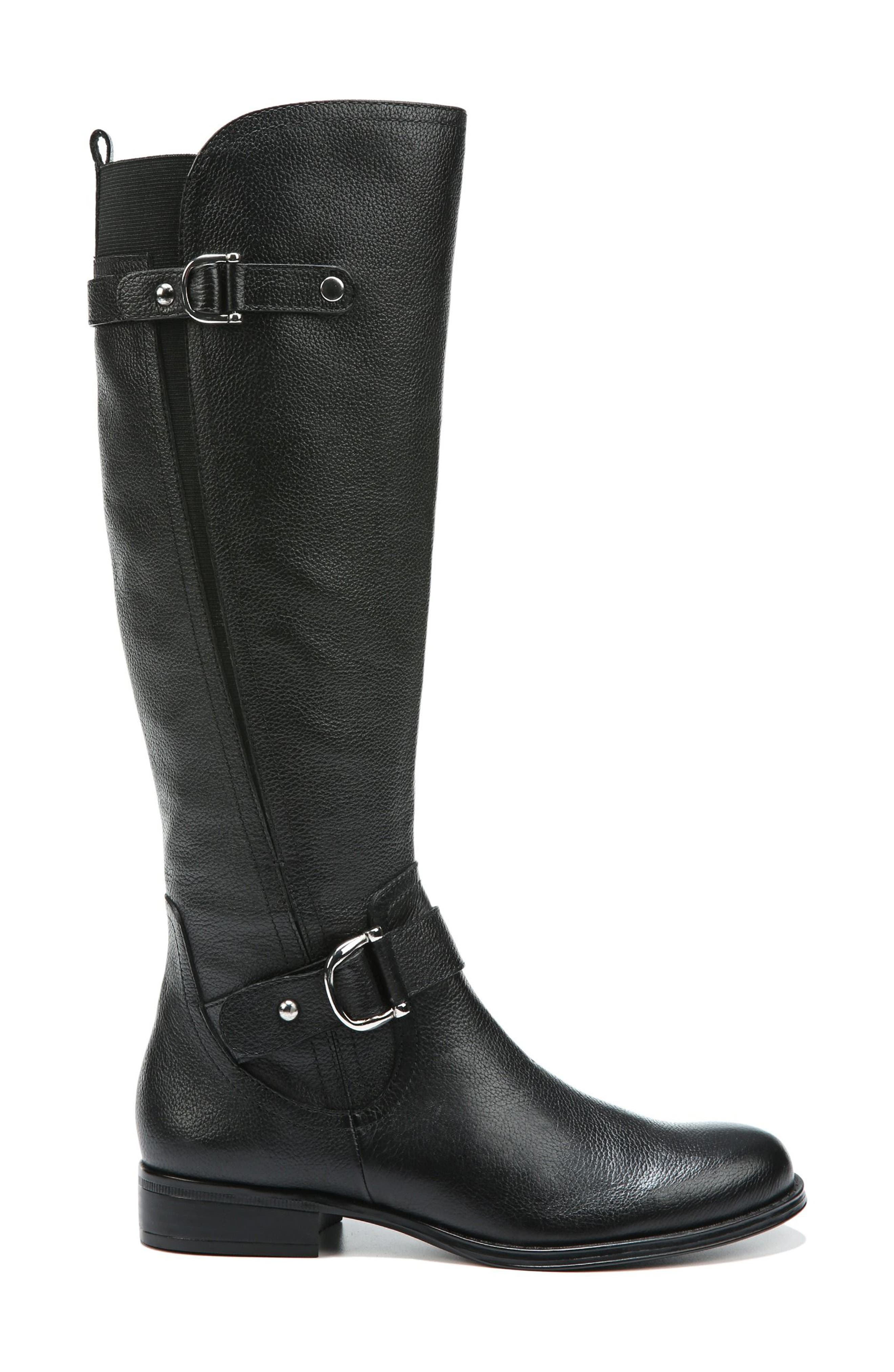 NATURALIZER, Jenelle Tall Boot, Alternate thumbnail 3, color, BLACK LEATHER