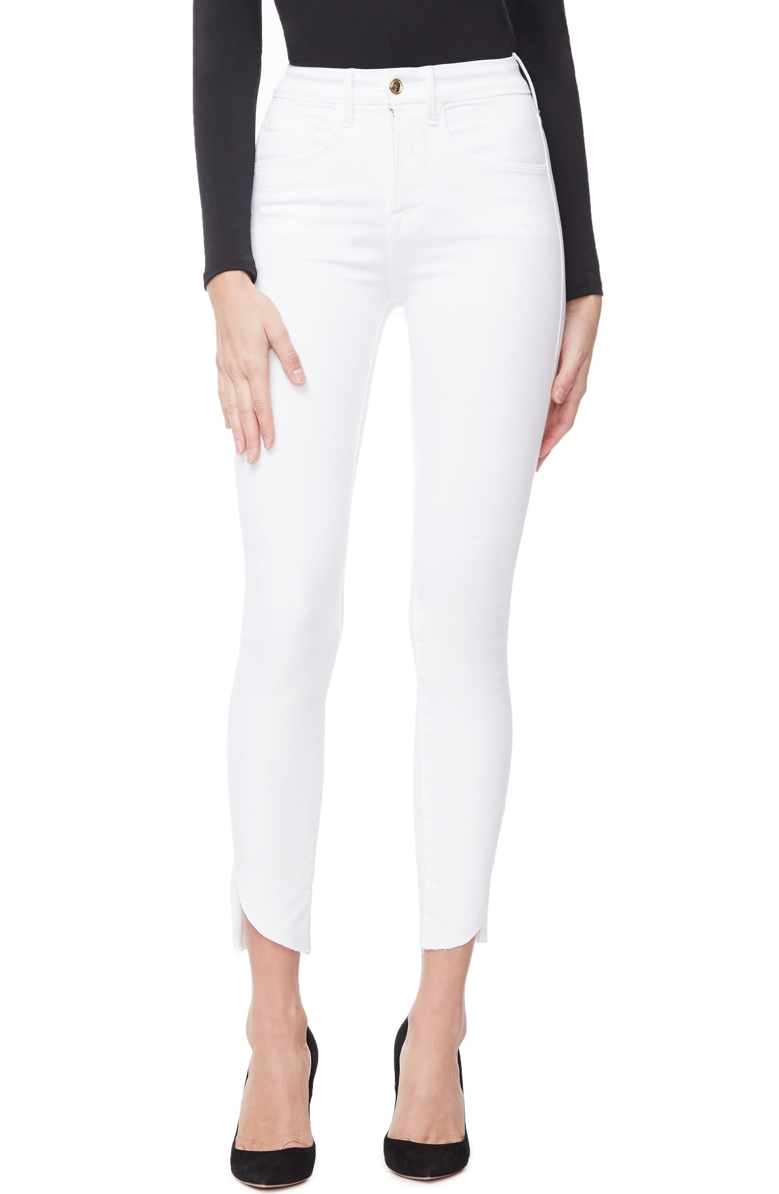 GOOD AMERICAN, Good Legs Cascade Hem Skinny Jeans, Main thumbnail 1, color, WHITE001