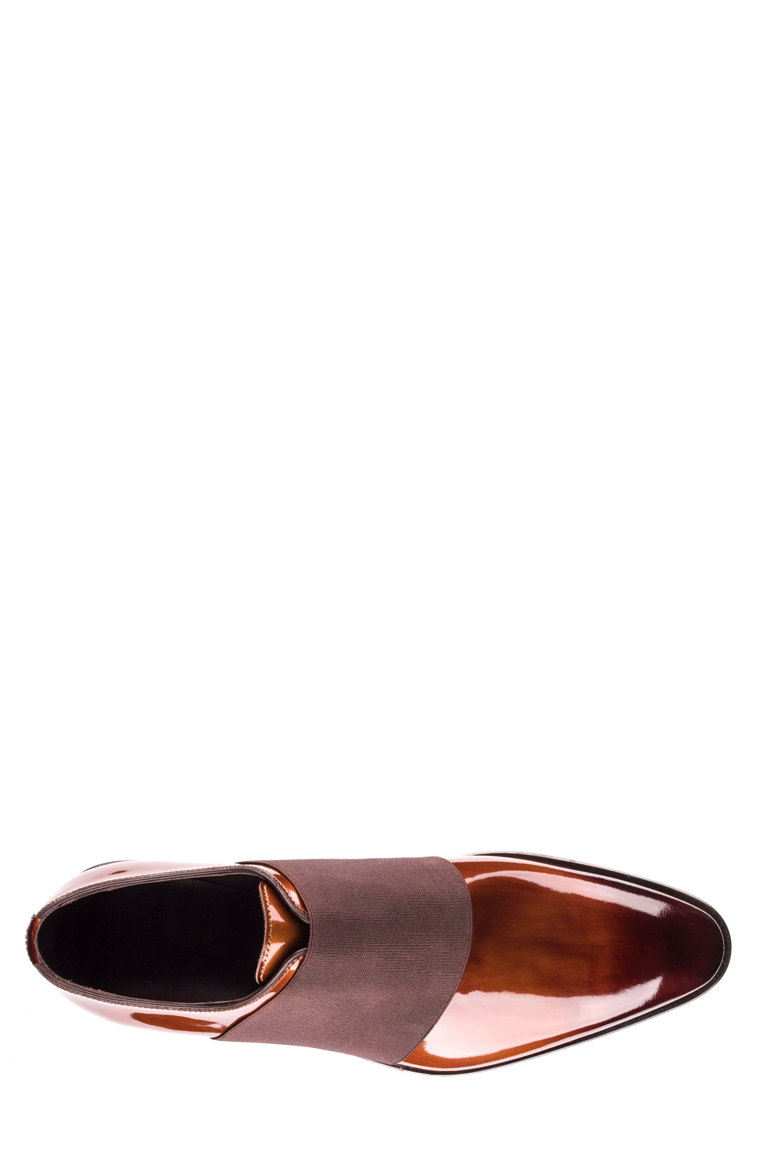 JARED LANG, Vincenzo Whole Cut Slip-On, Alternate thumbnail 5, color, BROWN LEATHER