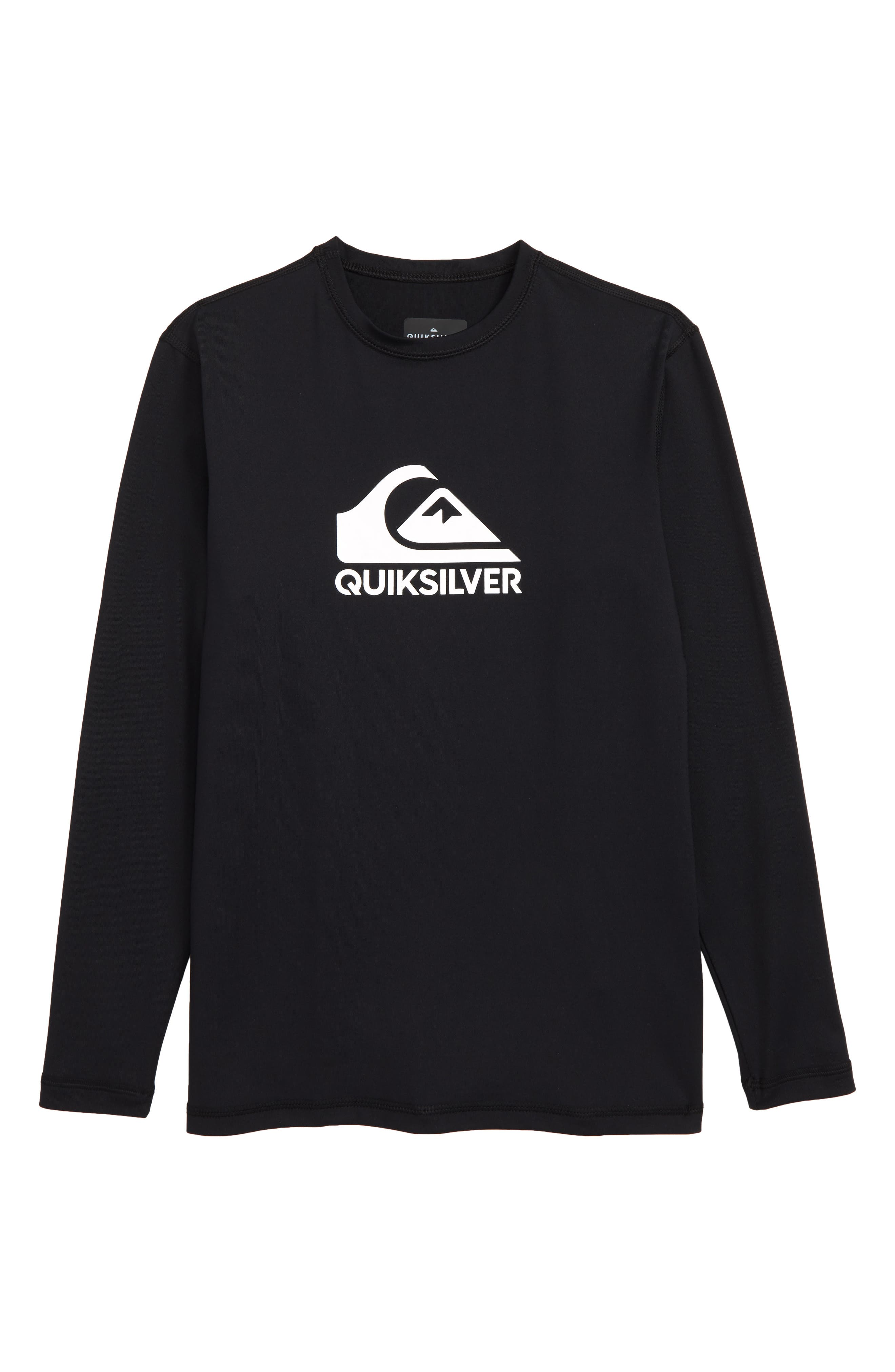 QUIKSILVER, Solid Streak Long Sleeve Rashguard, Main thumbnail 1, color, BLACK