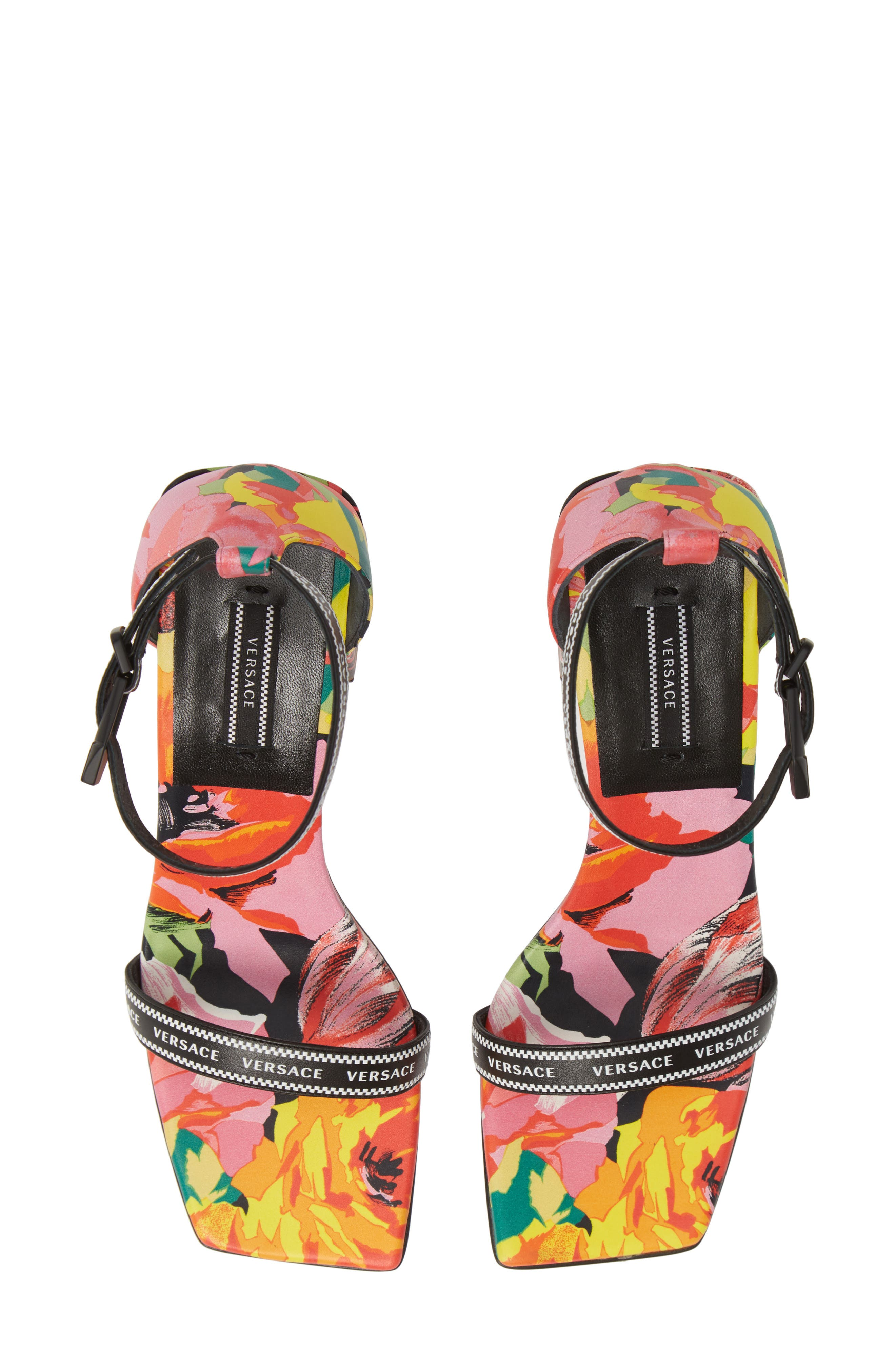 VERSACE FIRST LINE, Floral Logo Ankle Strap Sandal, Main thumbnail 1, color, BLACK PRINT