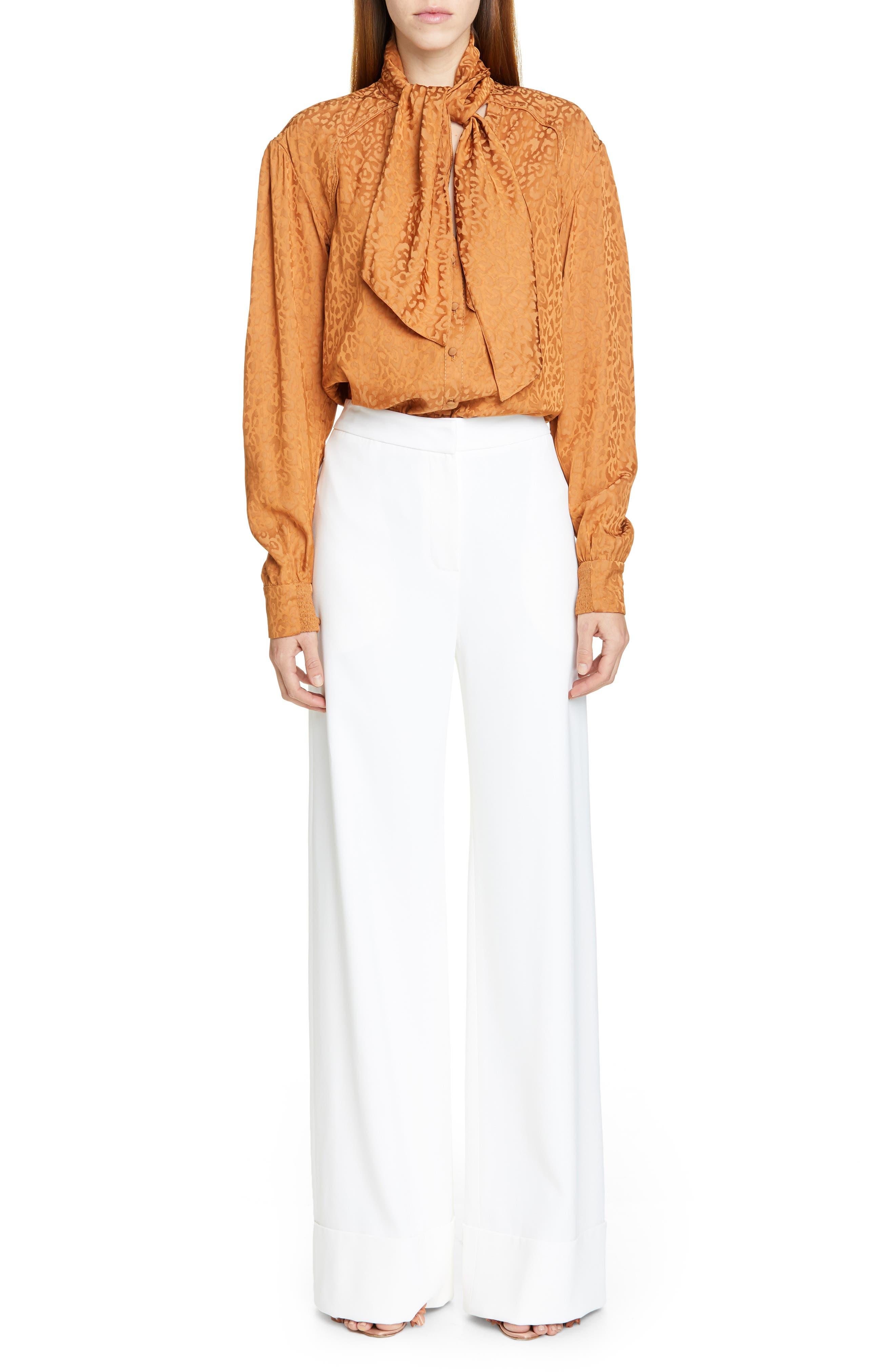 BRANDON MAXWELL, Wide Leg Cuff Pants, Alternate thumbnail 7, color, IVORY