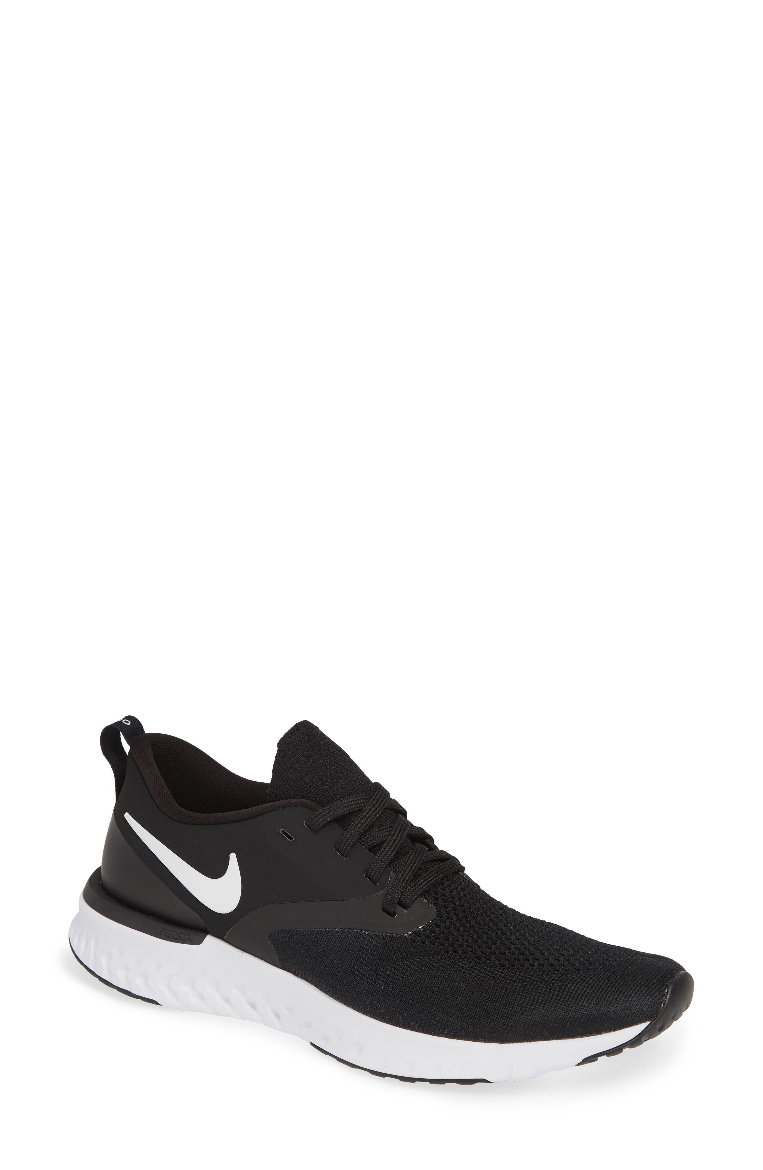NIKE, Odyssey React 2 Flyknit Running Shoe, Main thumbnail 1, color, BLACK/ WHITE