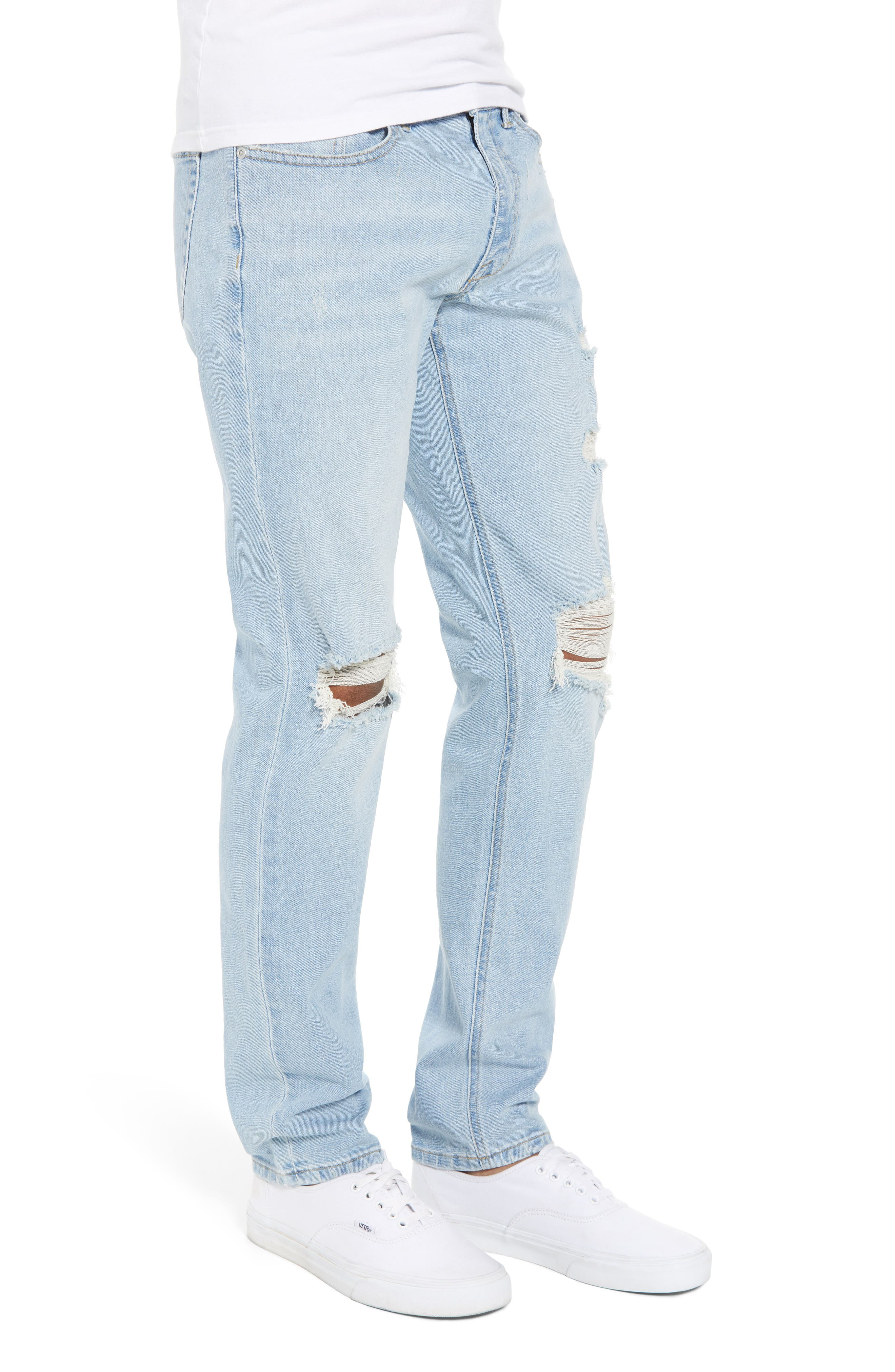 THE RAIL, Ripped Skinny Jeans, Alternate thumbnail 4, color, BLUE CORGAN WASH