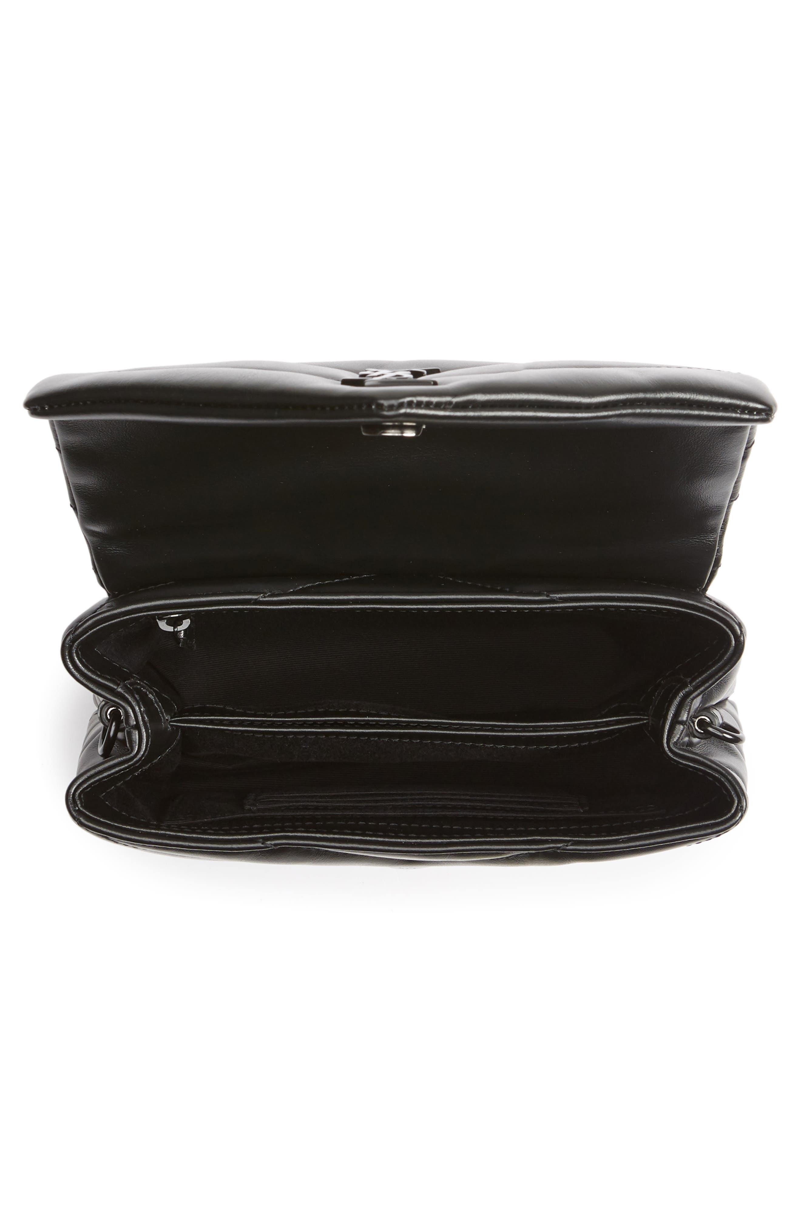 SAINT LAURENT, Toy Loulou Leather Crossbody Bag, Alternate thumbnail 4, color, 001