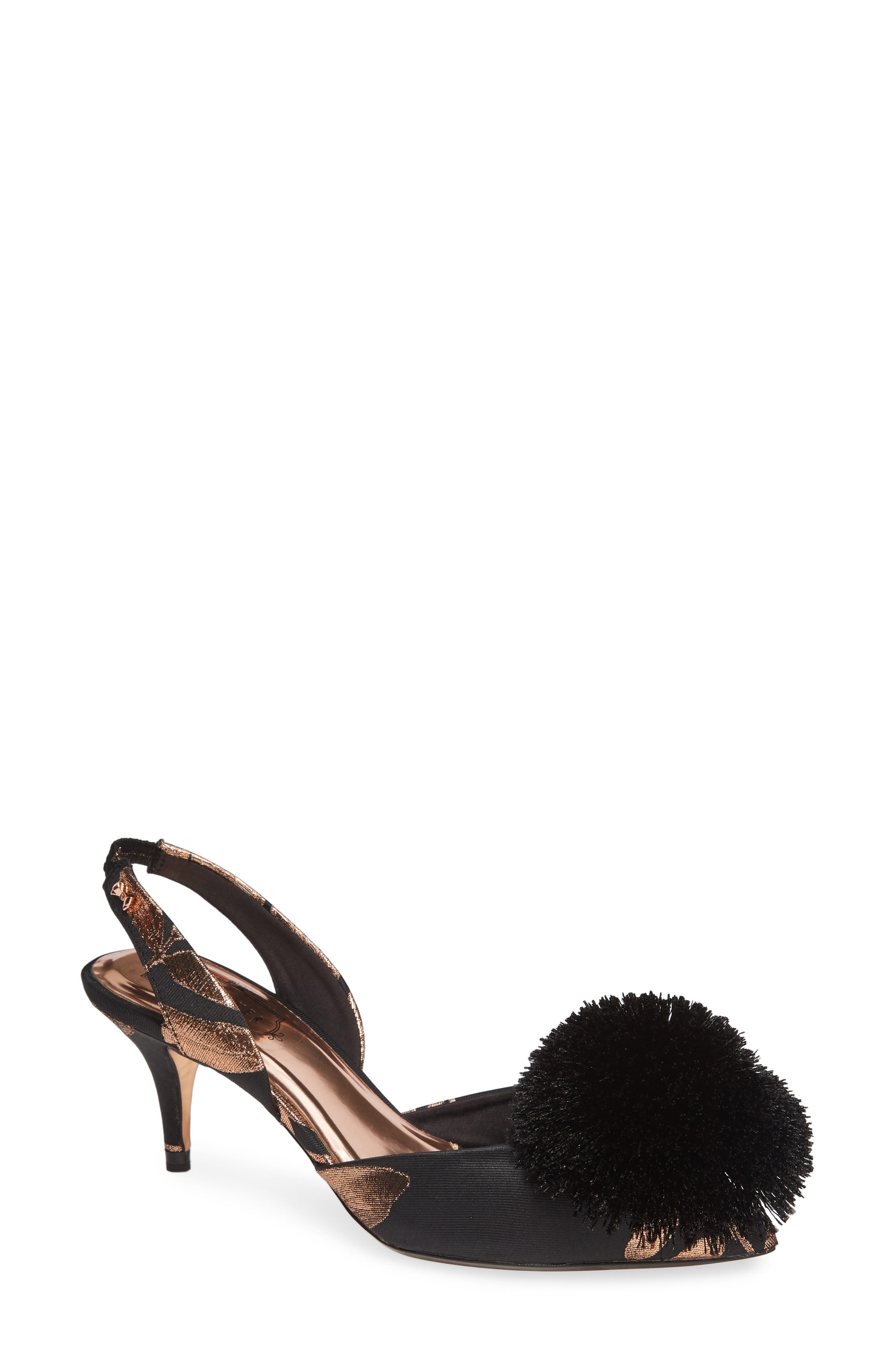 TED BAKER LONDON Mikali Yarn Pouf Sandal, Main, color, BLACK KIRSTEN BOSCH