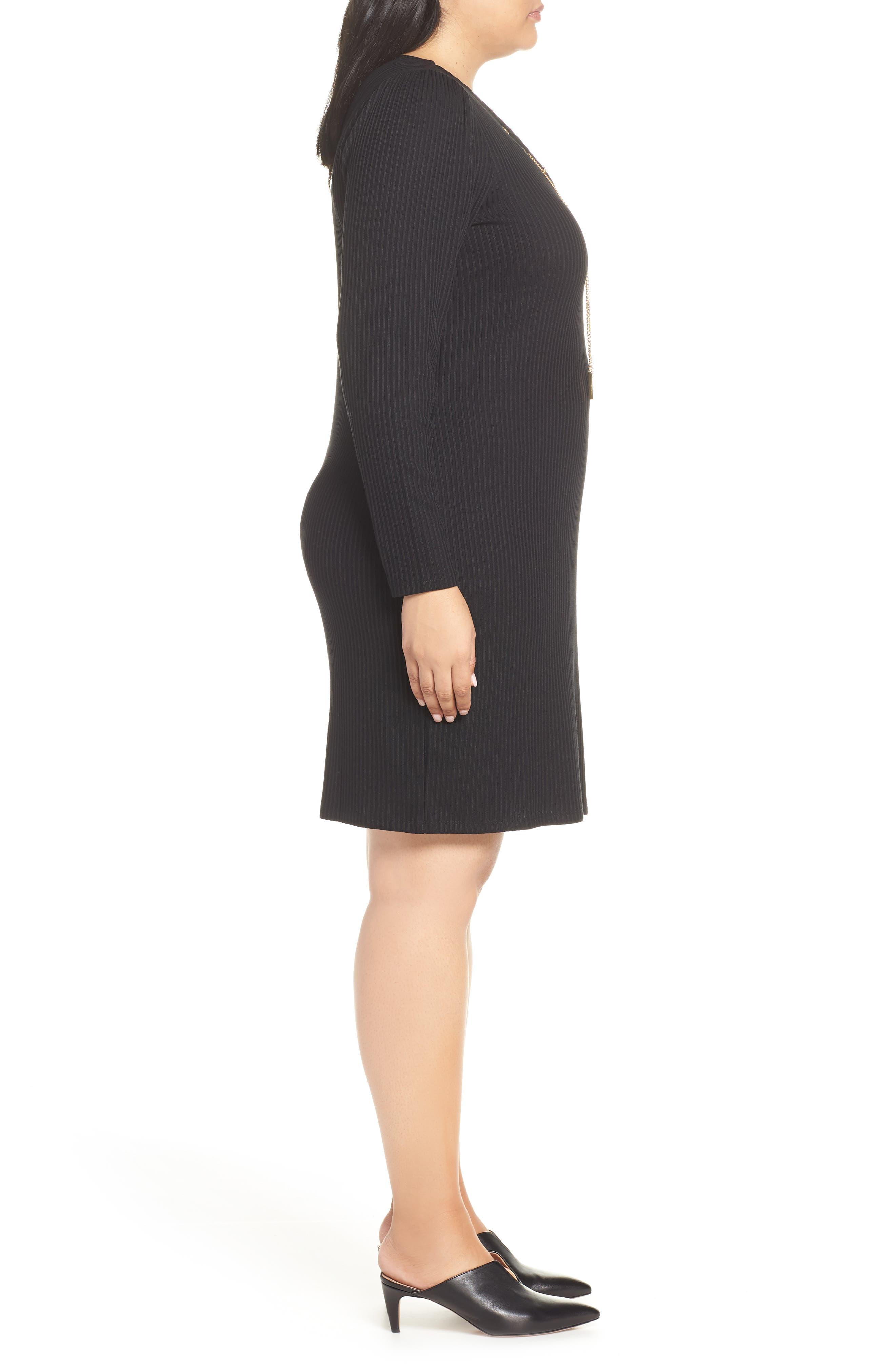 MICHAEL MICHAEL KORS, Chain Lace-Up V-Neck Sweater Dress, Alternate thumbnail 4, color, 001