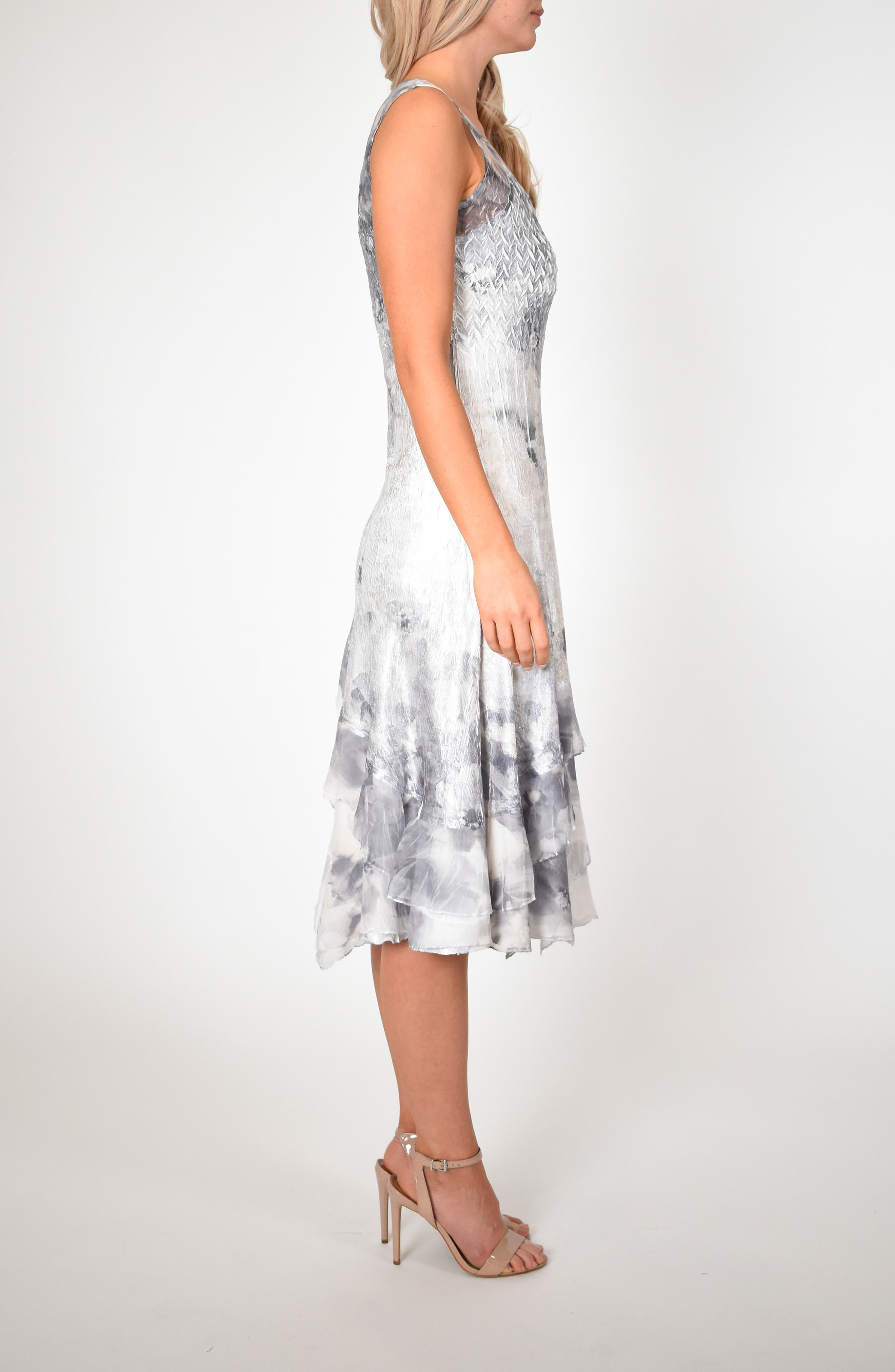 KOMAROV, Floral Charmeuse & Chiffon Dress with Jacket, Alternate thumbnail 7, color, FROSTED PETAL