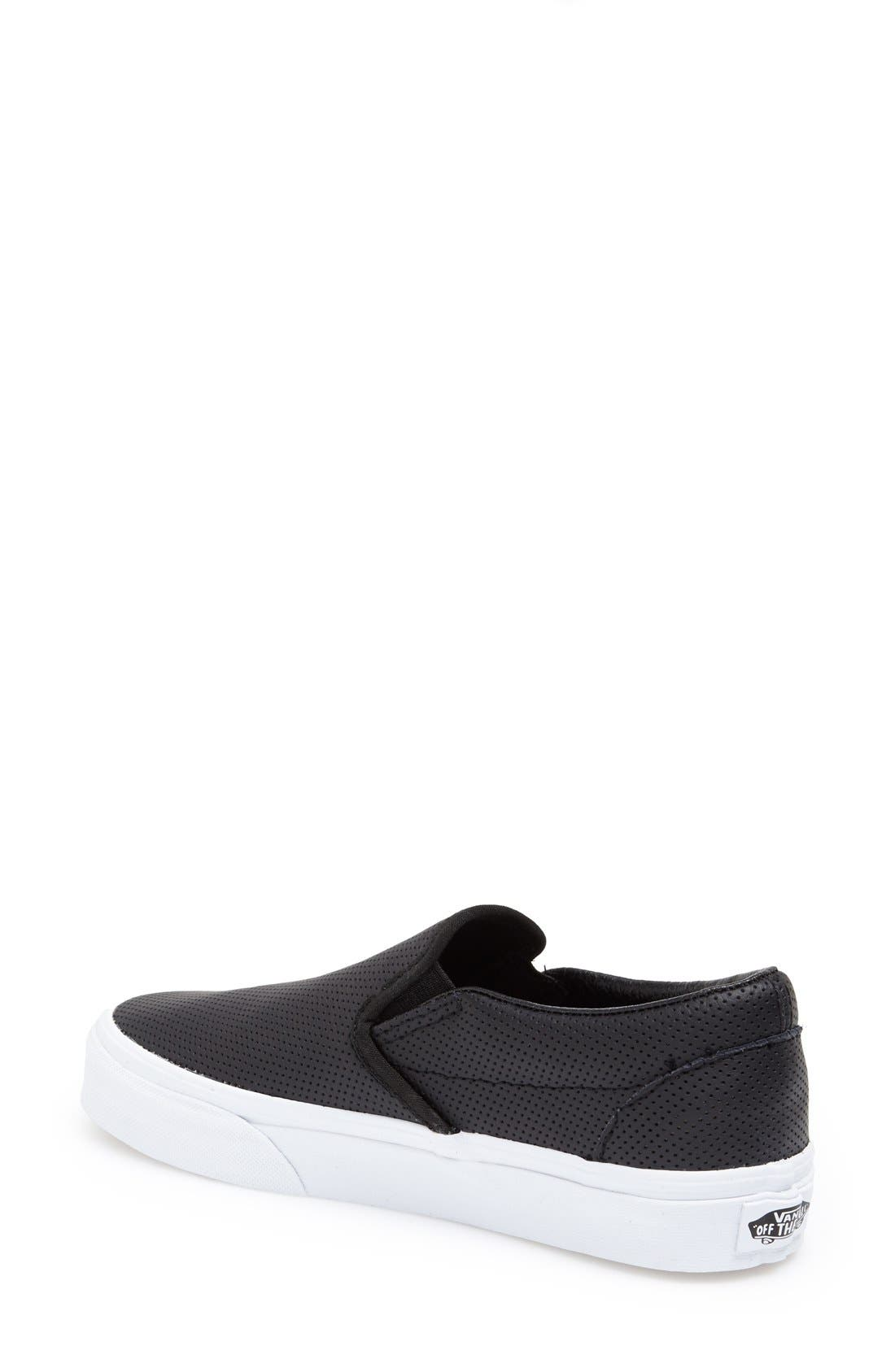 VANS, 'Classic' Sneaker, Alternate thumbnail 3, color, LEATHER BLACK