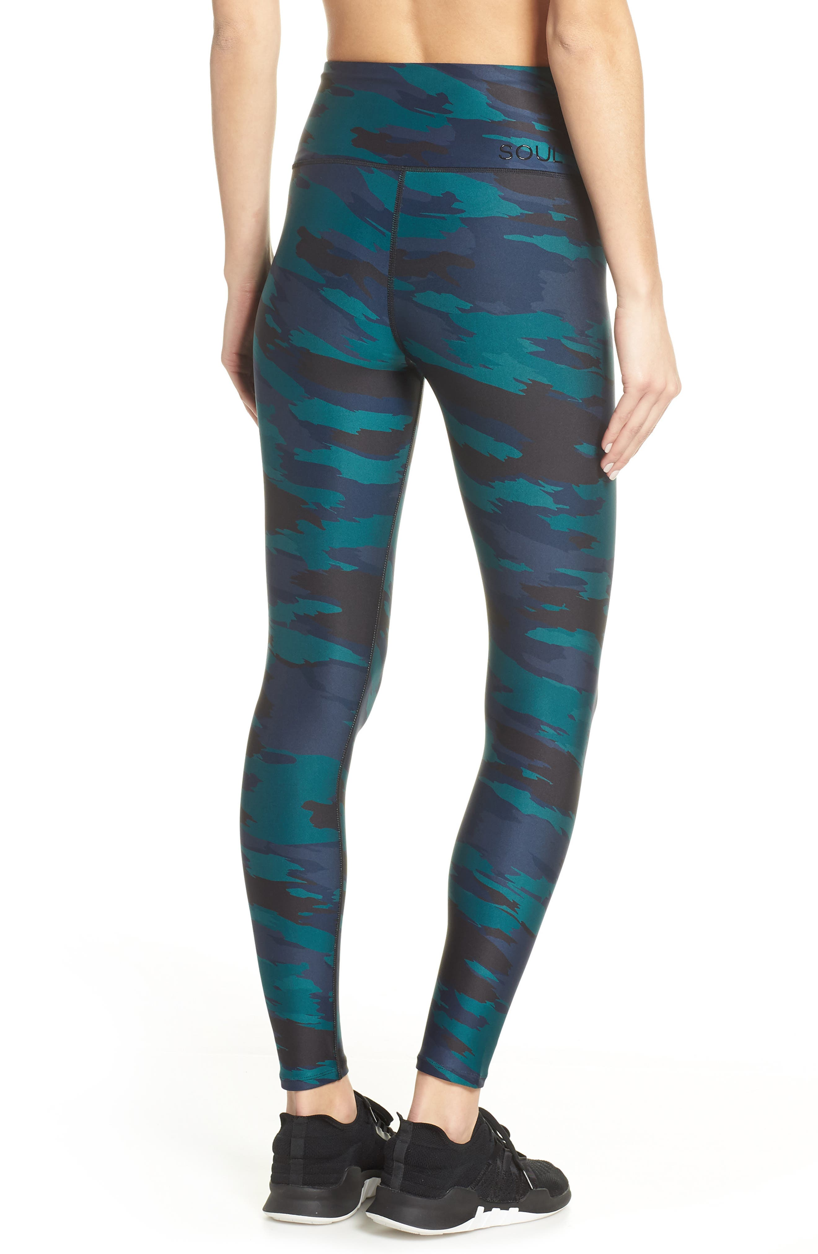 SOUL BY SOULCYCLE, High Waist Camo Tights, Alternate thumbnail 2, color, CAMO