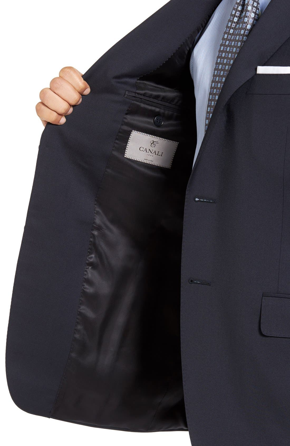 CANALI, Classic Fit Solid Wool Suit, Alternate thumbnail 6, color, NAVY