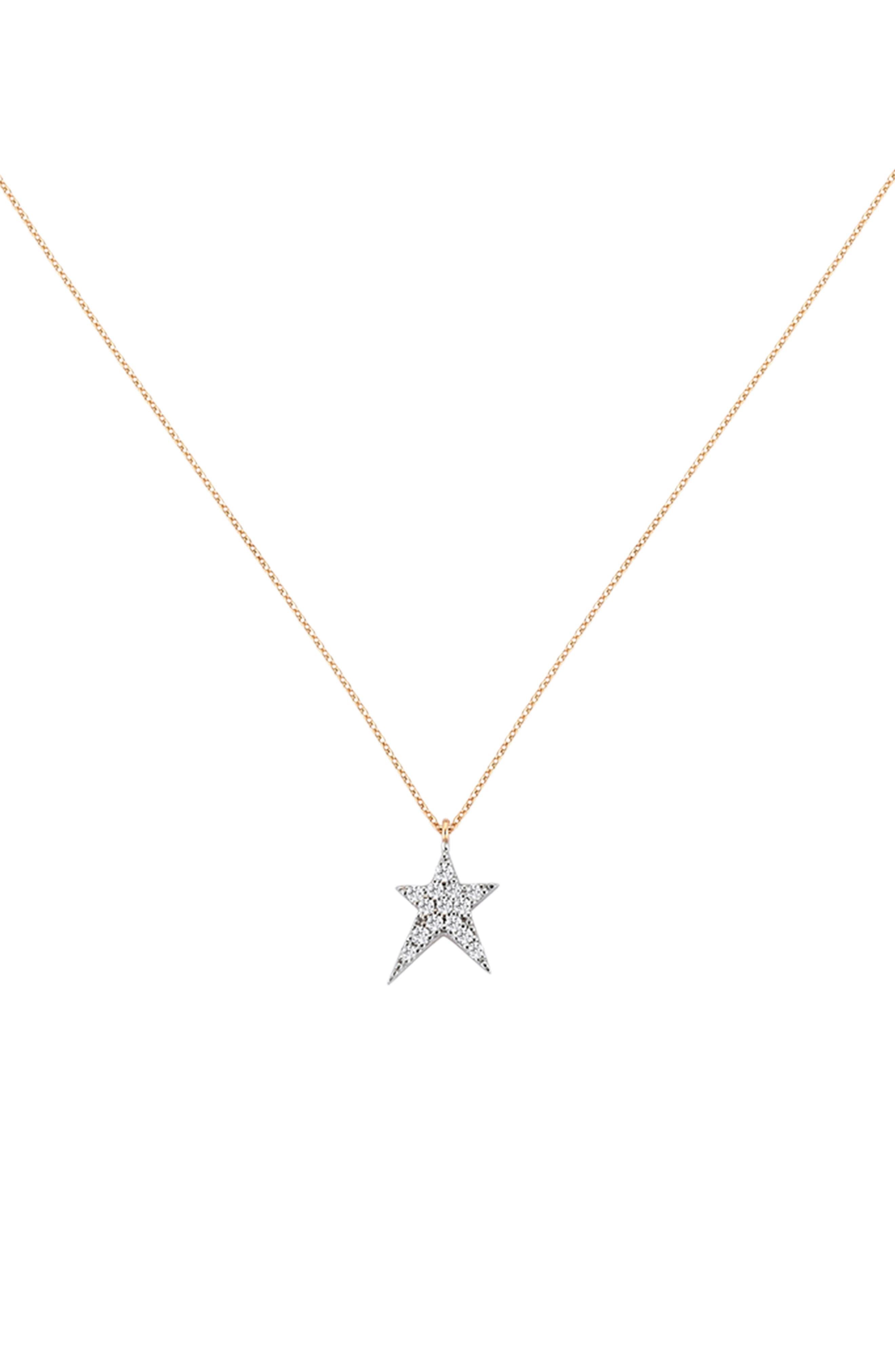 KISMET BY MILKA, Struck Star Diamond Necklace, Main thumbnail 1, color, 712