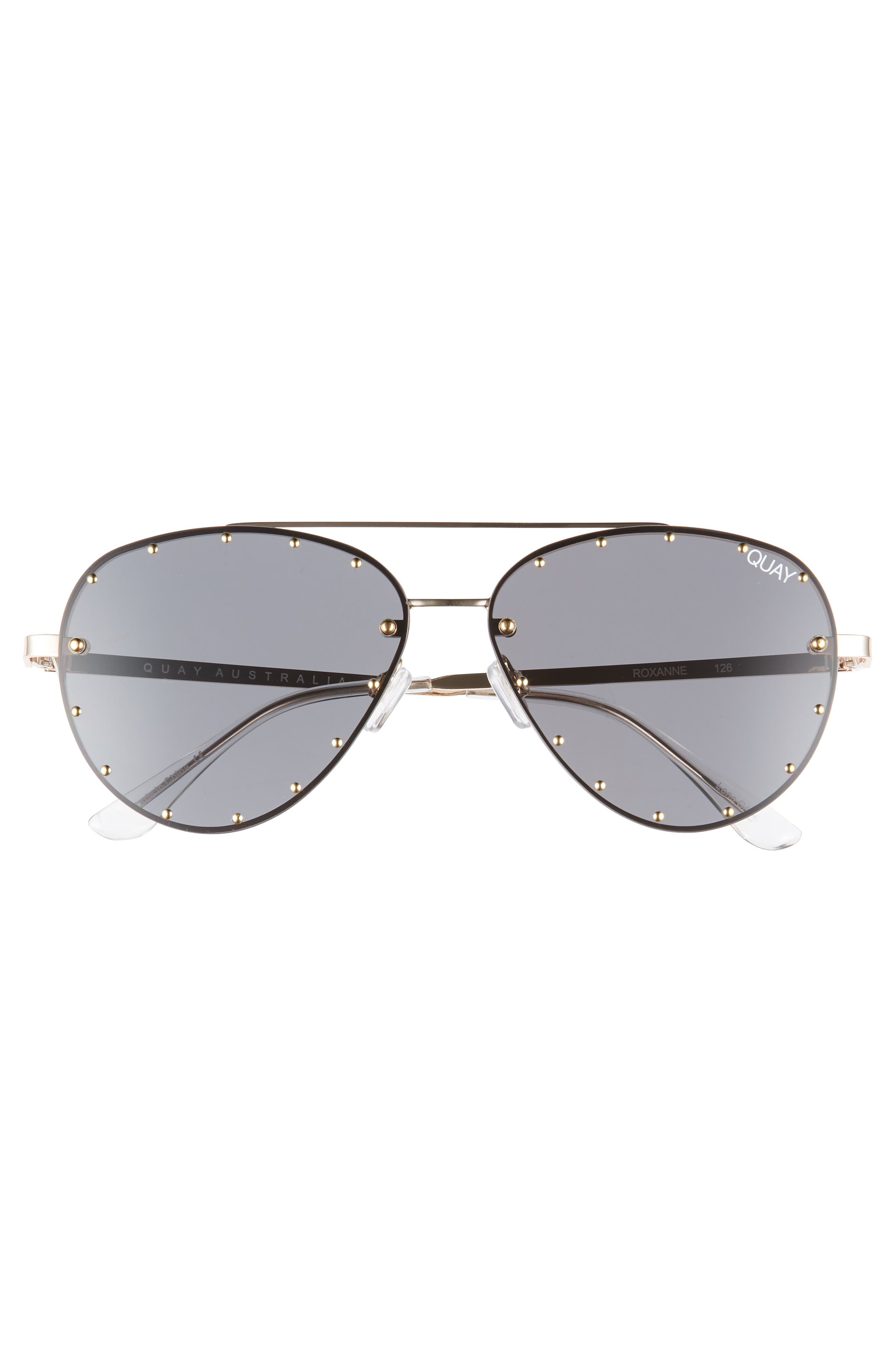 QUAY AUSTRALIA, x Jaclyn Hill Roxanne 62mm Stud Aviator Sunglasses, Alternate thumbnail 5, color, GOLD / SMOKE