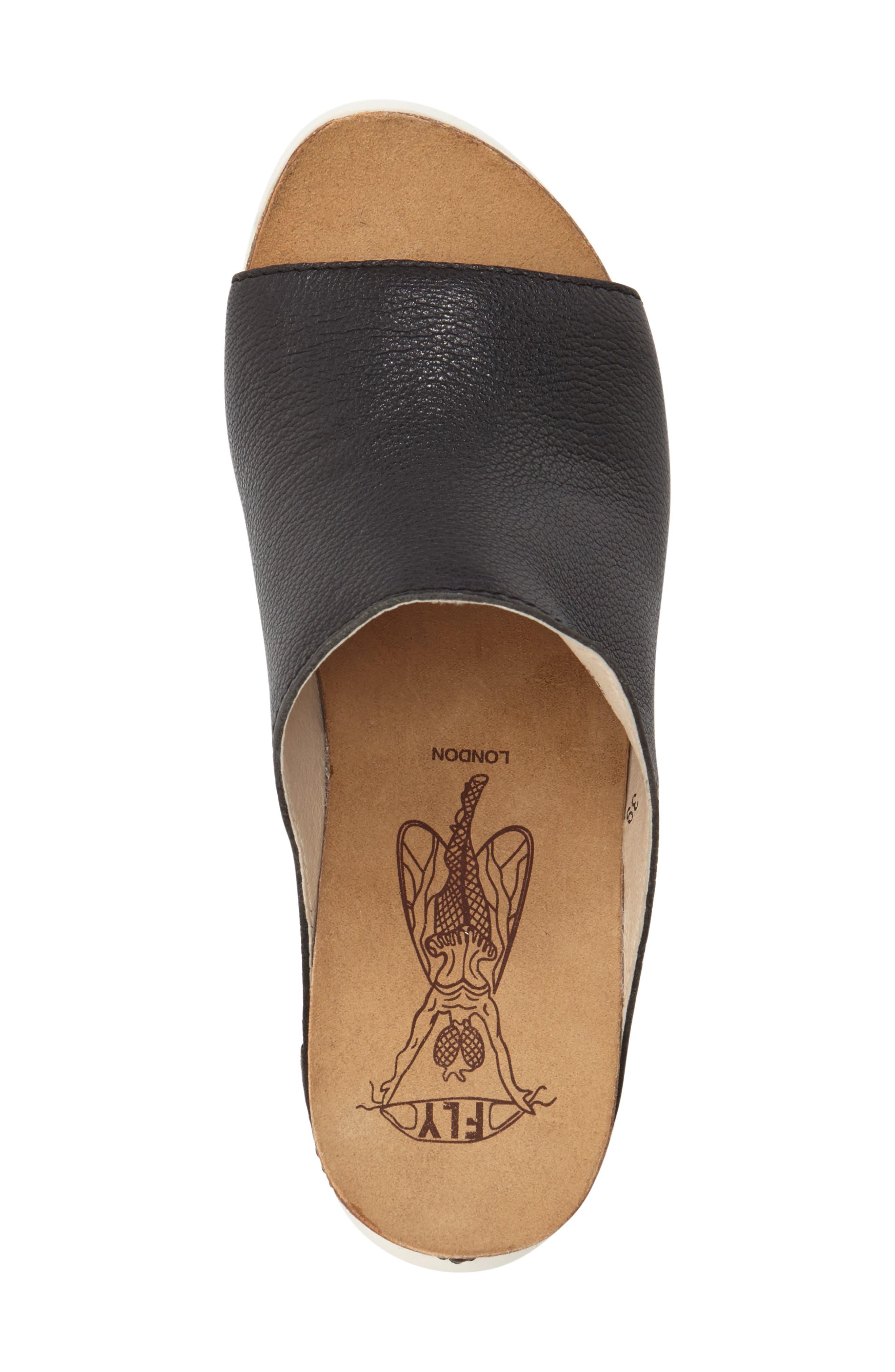 FLY LONDON, 'Wigg' Platform Wedge Slide Sandal, Alternate thumbnail 2, color, BLACK LEATHER