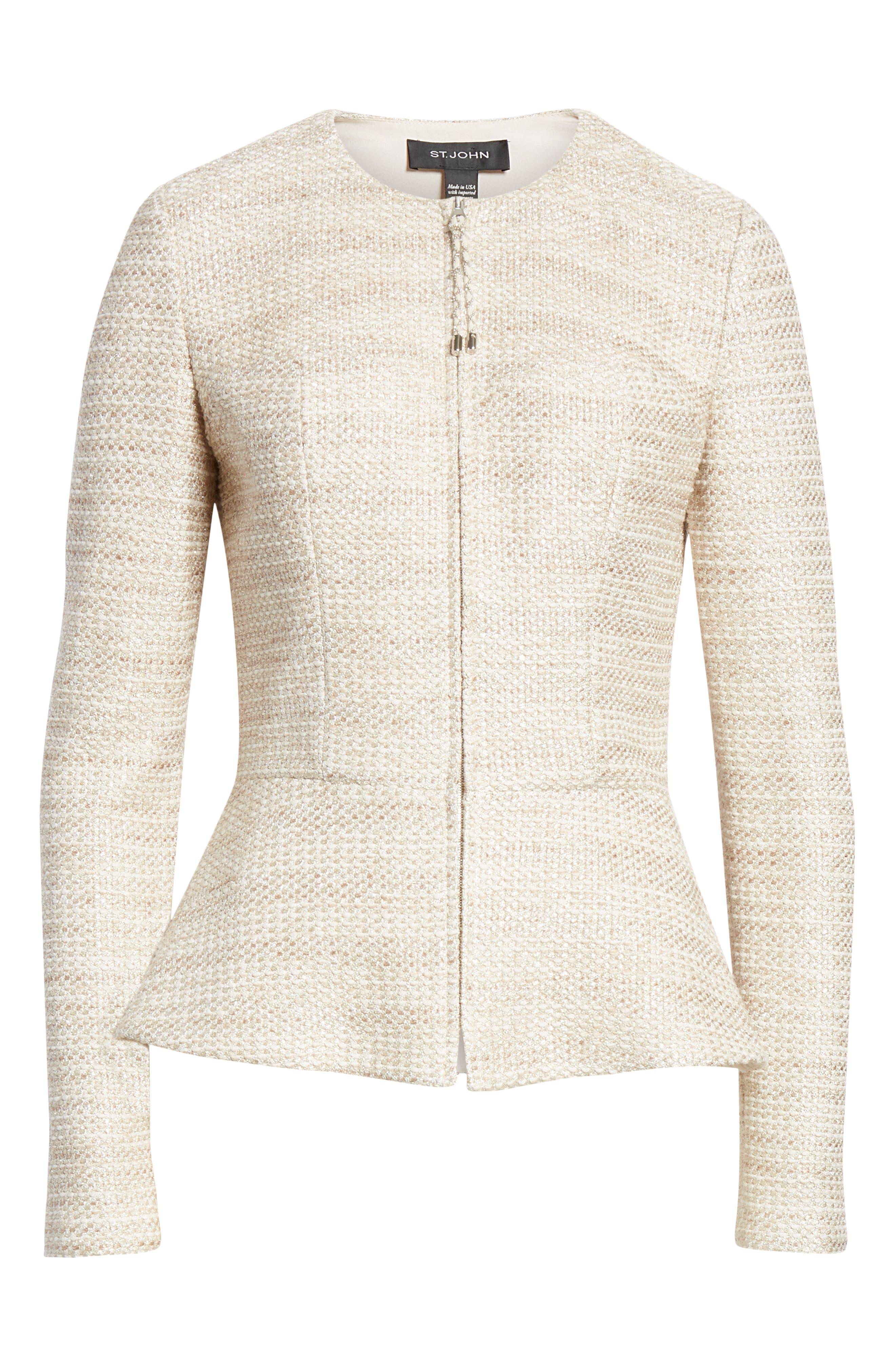ST. JOHN COLLECTION, Antonella Knit Peplum Jacket, Alternate thumbnail 6, color, GOLD