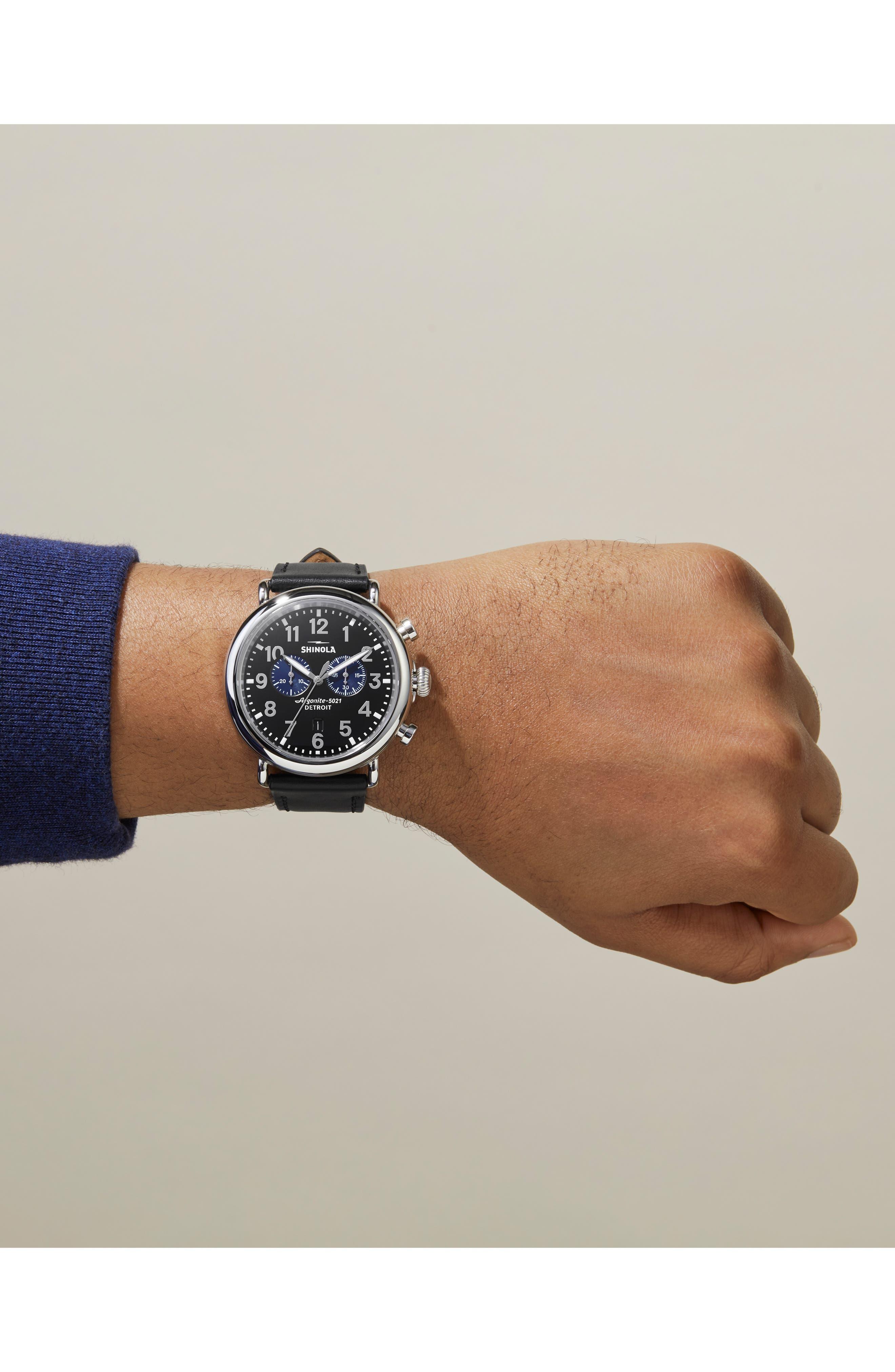 SHINOLA, The Runwell Chrono Leather Strap Watch, 47mm, Alternate thumbnail 2, color, 002