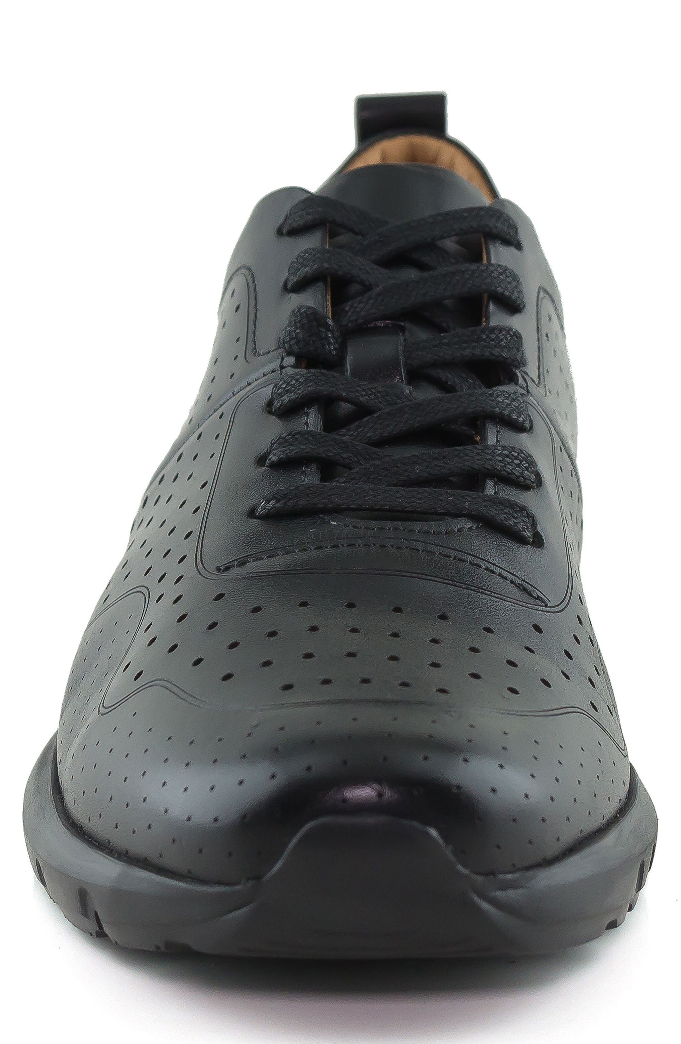 MARC JOSEPH NEW YORK, Grand Central Perforated Sneaker, Alternate thumbnail 4, color, BLACK
