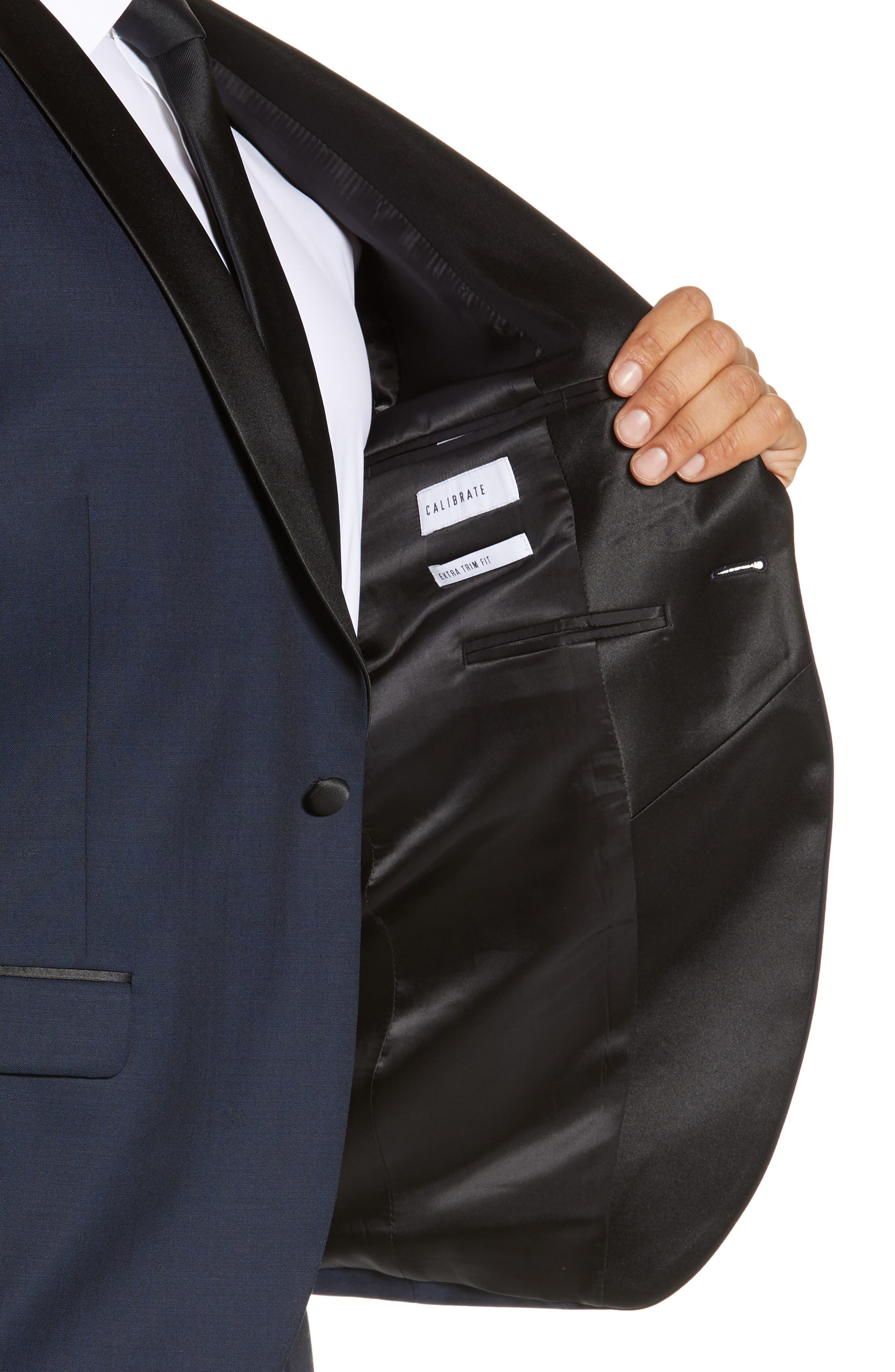 CALIBRATE, Extra Trim Fit Shawl Dinner Jacket, Alternate thumbnail 4, color, HIGH BLUE