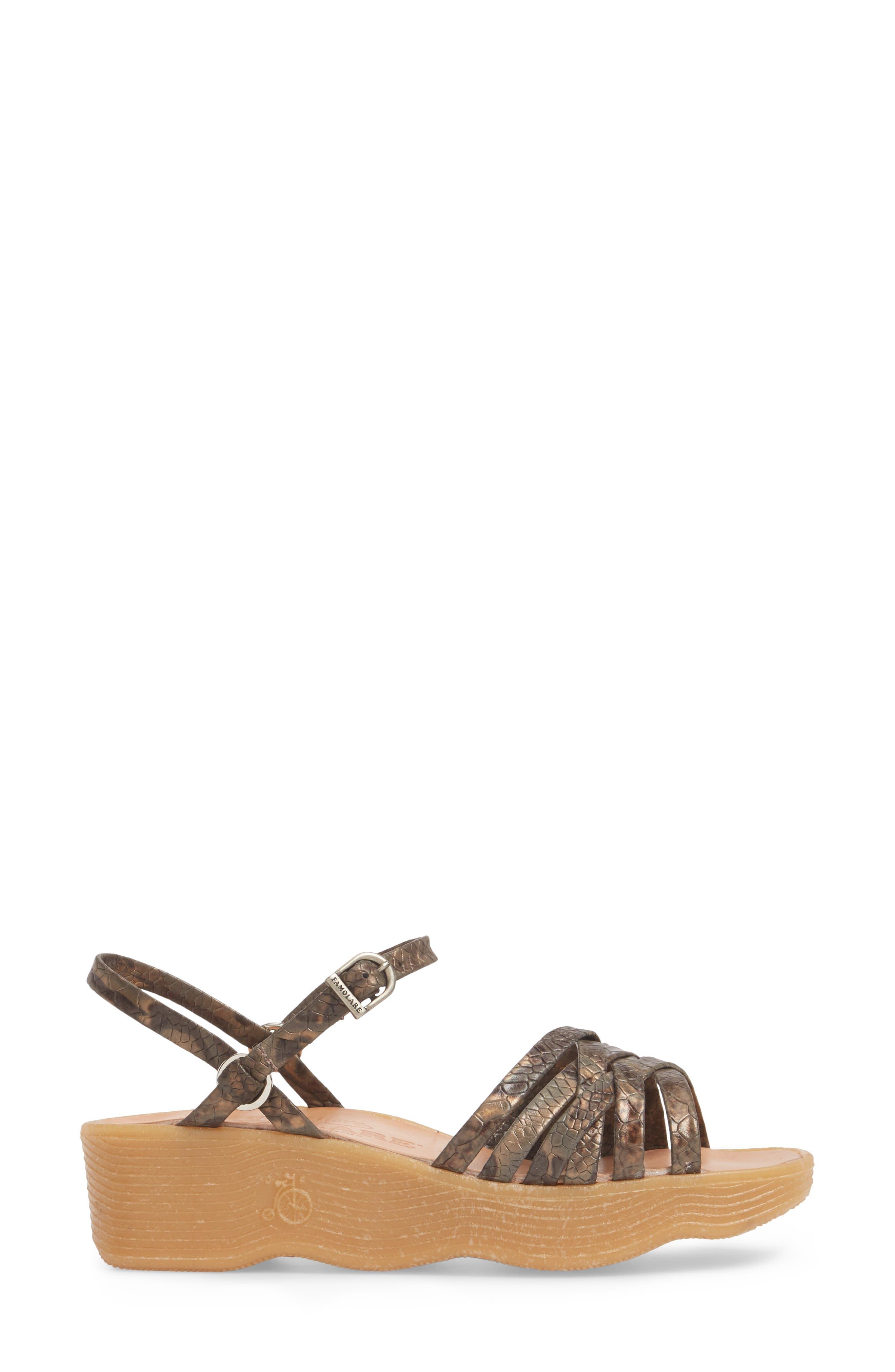 FAMOLARE, Strappy Camper Sandal, Alternate thumbnail 3, color, SNAKE PRINT LEATHER
