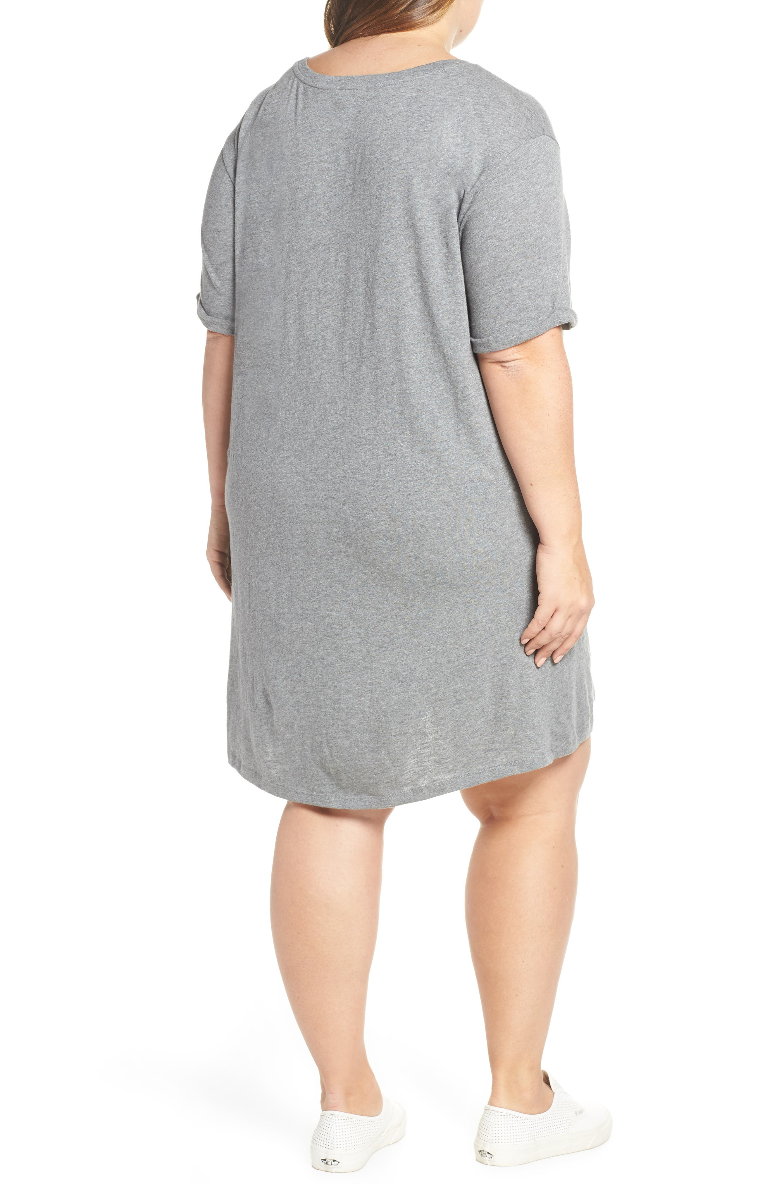 CASLON<SUP>®</SUP>, Knot Front T-Shirt Dress, Alternate thumbnail 2, color, GREY DARK HEATHER