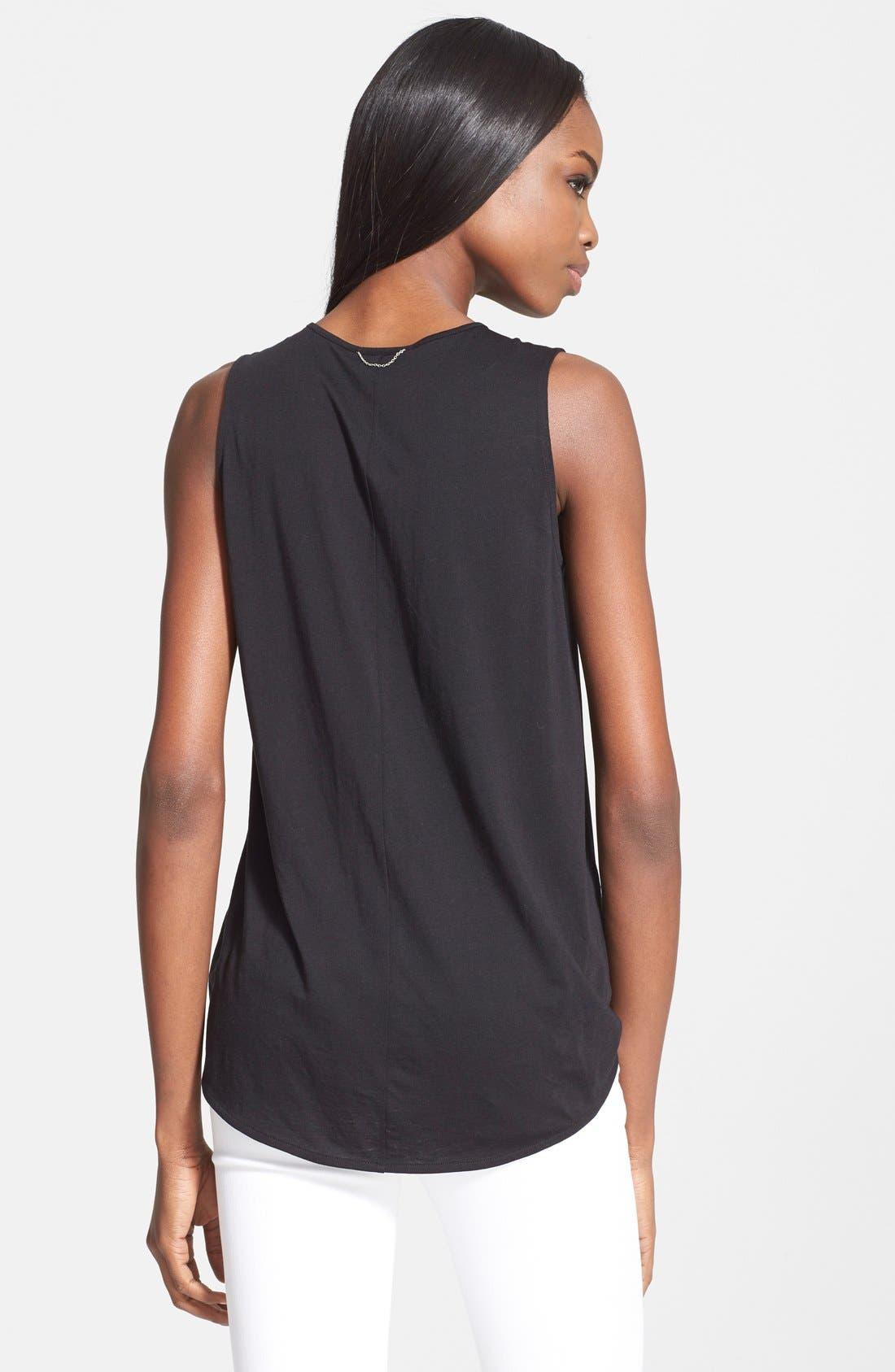 THE KOOPLES SPORT, Asymmetrical Zip Silk Shirt, Alternate thumbnail 2, color, 001