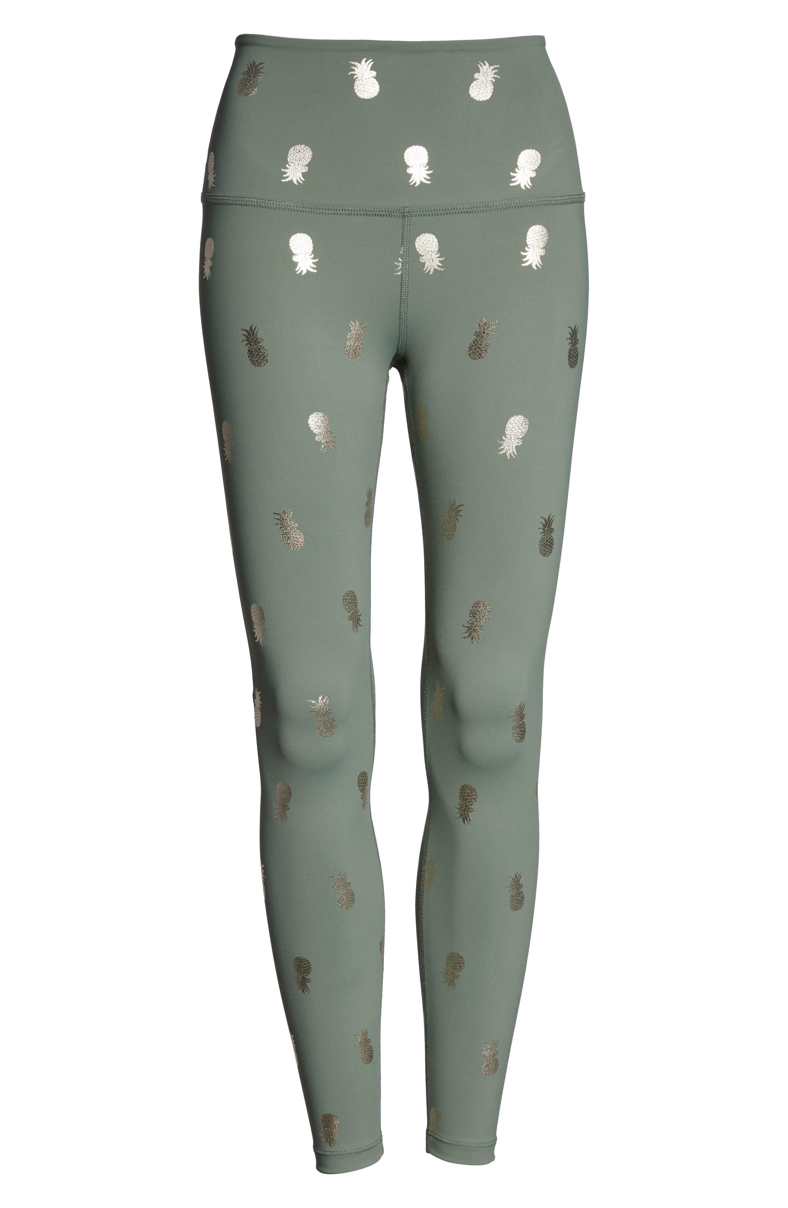 BEYOND YOGA, Pineapple Midi Leggings, Alternate thumbnail 7, color, ALOHA GREEN PINEAPPLES