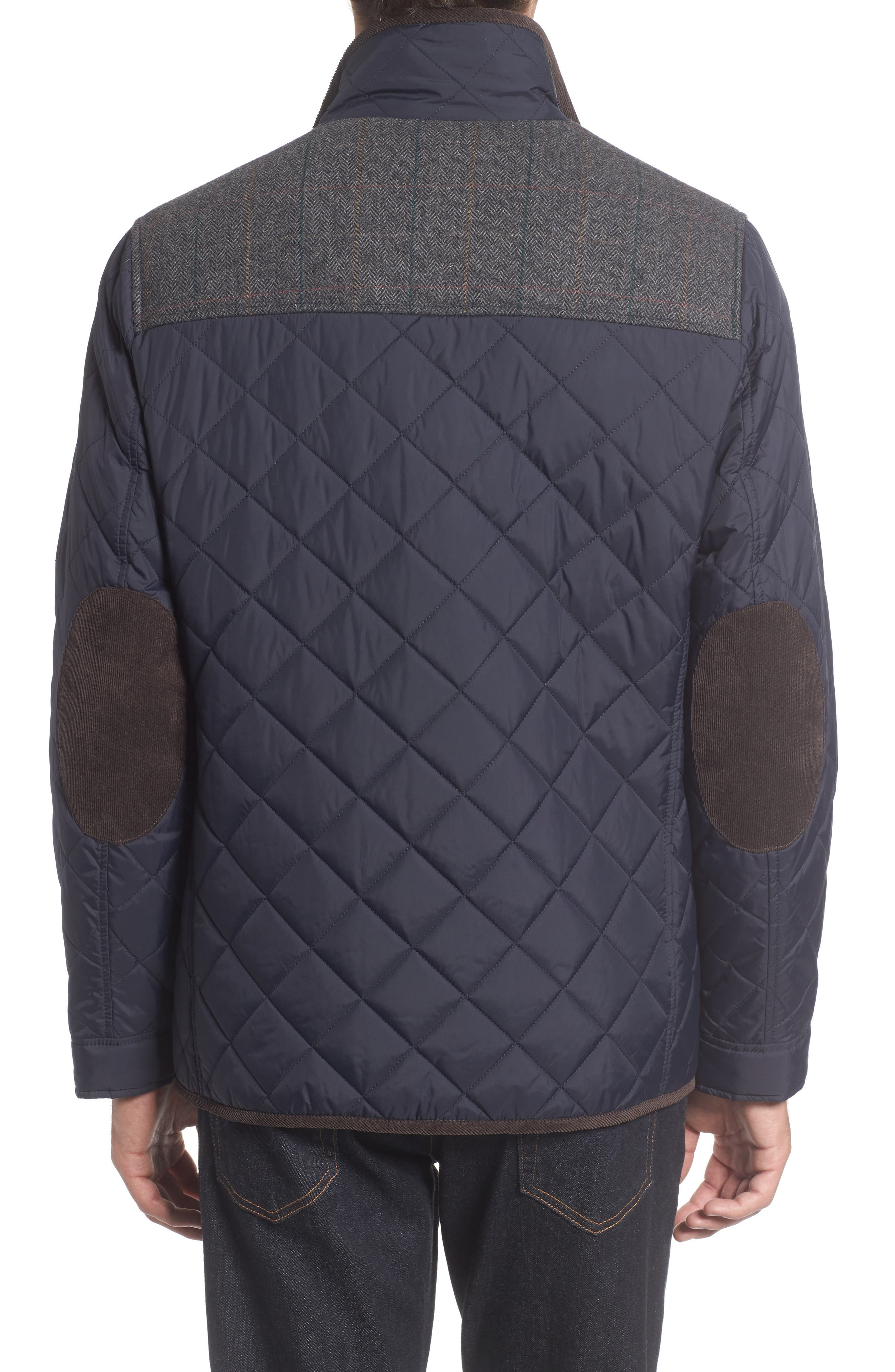 VINCE CAMUTO, Diamond Quilted Full Zip Jacket, Alternate thumbnail 4, color, NAVY