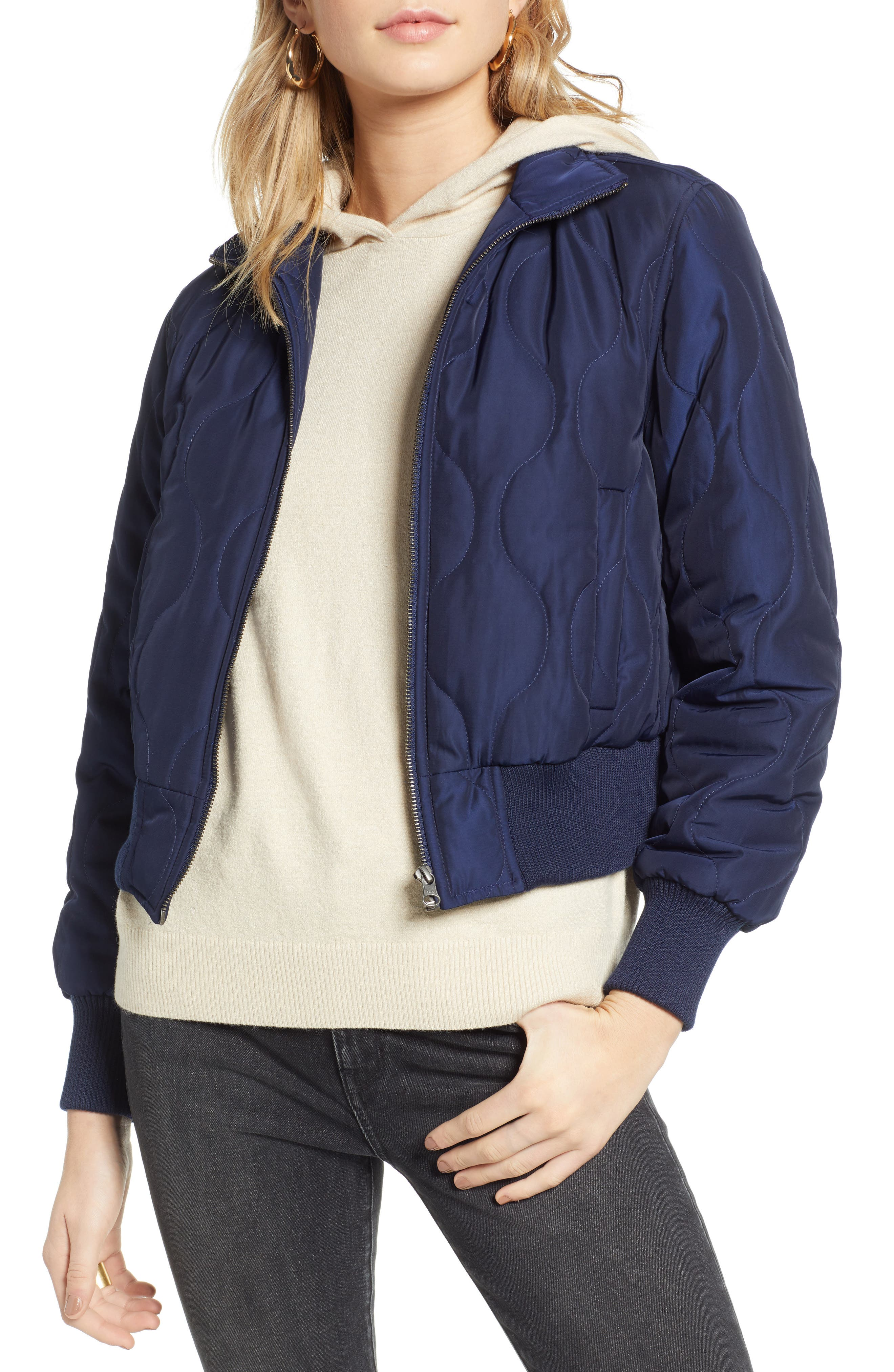 TREASURE & BOND, Satin Crop Puffer Jacket, Main thumbnail 1, color, NAVY MARITIME