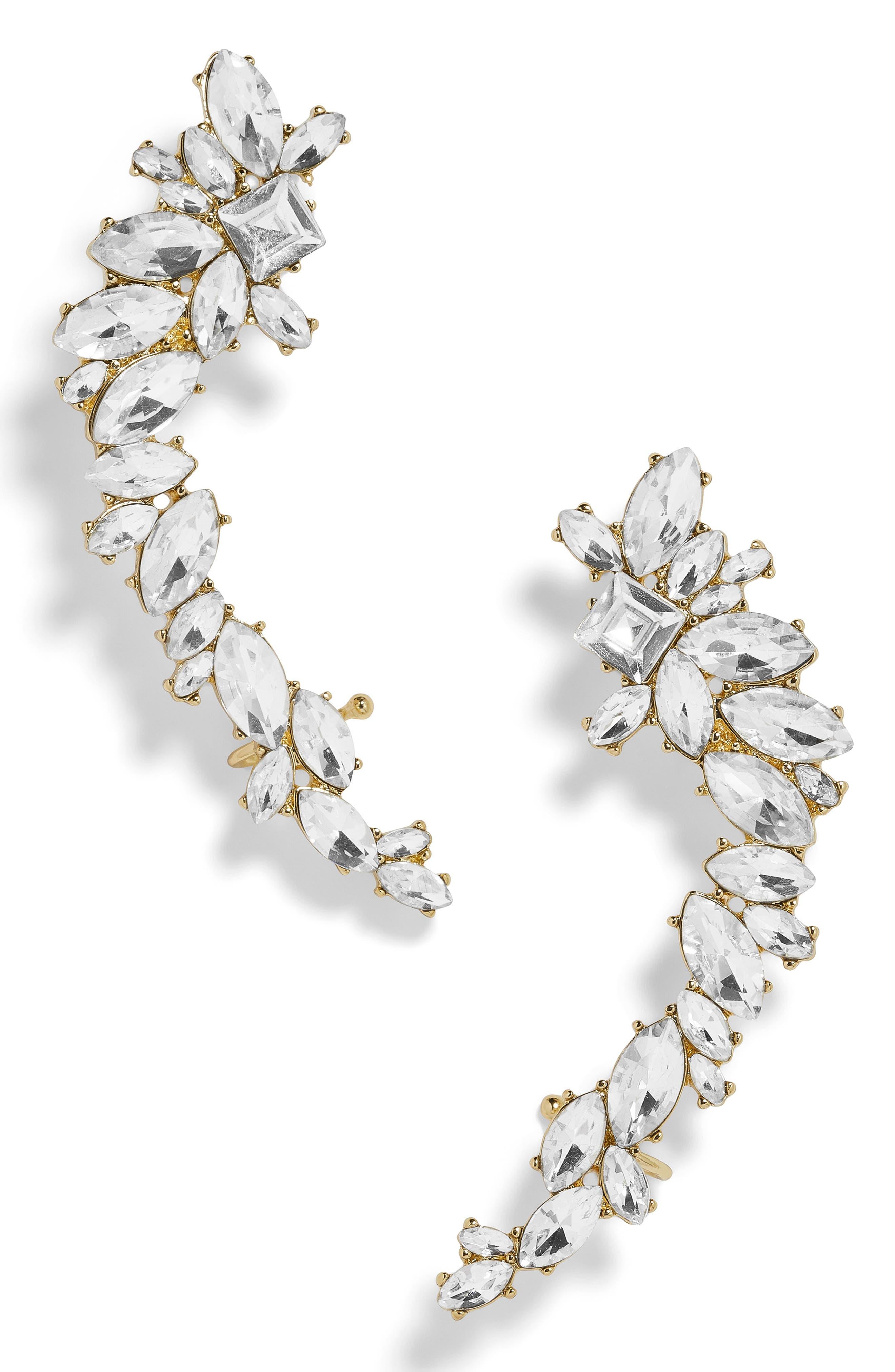 BAUBLEBAR, Eliza Large Crystal Crawler Earrings, Main thumbnail 1, color, GOLD