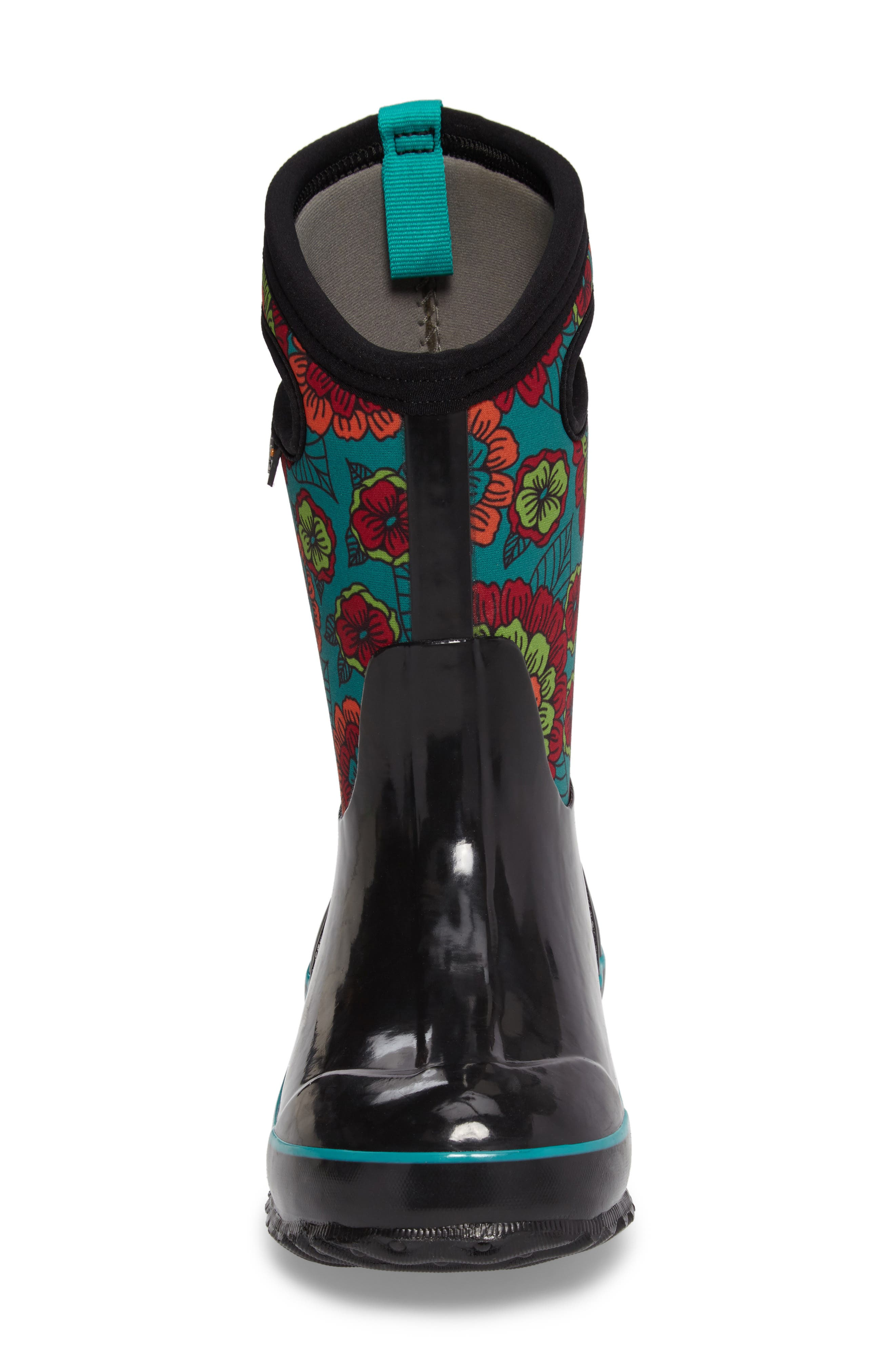 BOGS, Classic Pansies Insulated Waterproof Rain Boot, Alternate thumbnail 4, color, 005