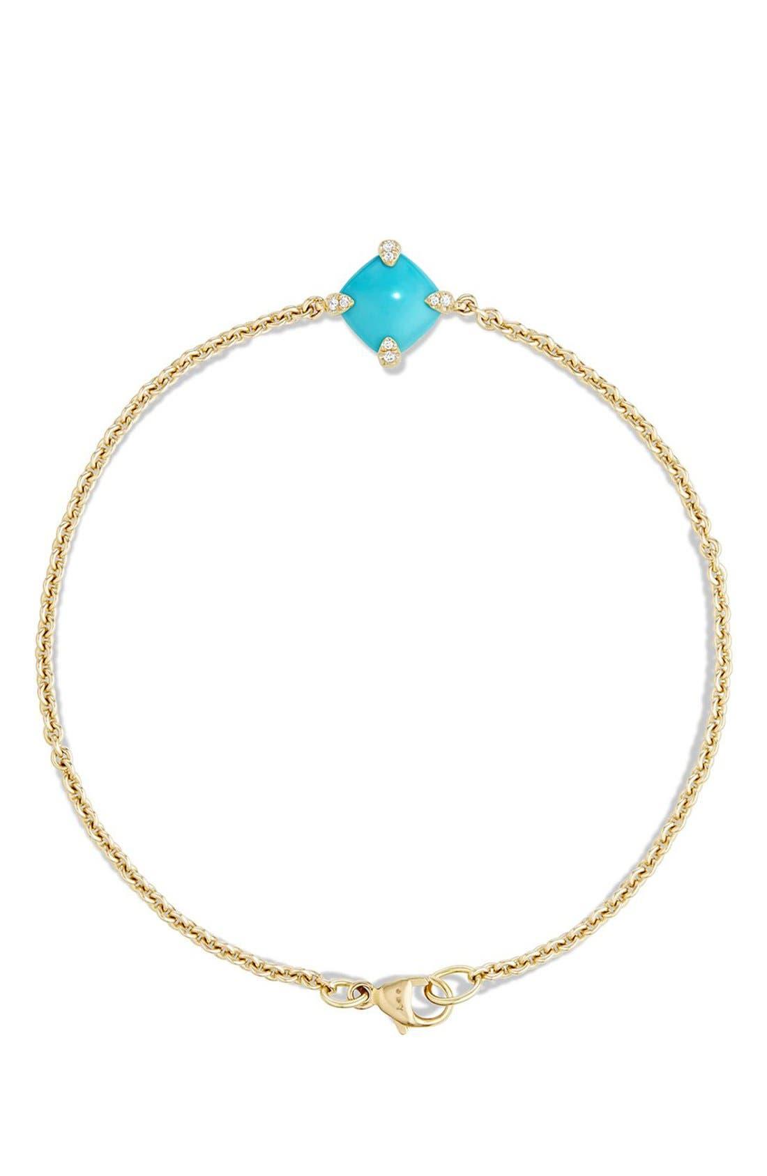 DAVID YURMAN, 'Châtelaine' Bracelet with Diamonds in 18K Gold, Alternate thumbnail 3, color, TURQUOISE