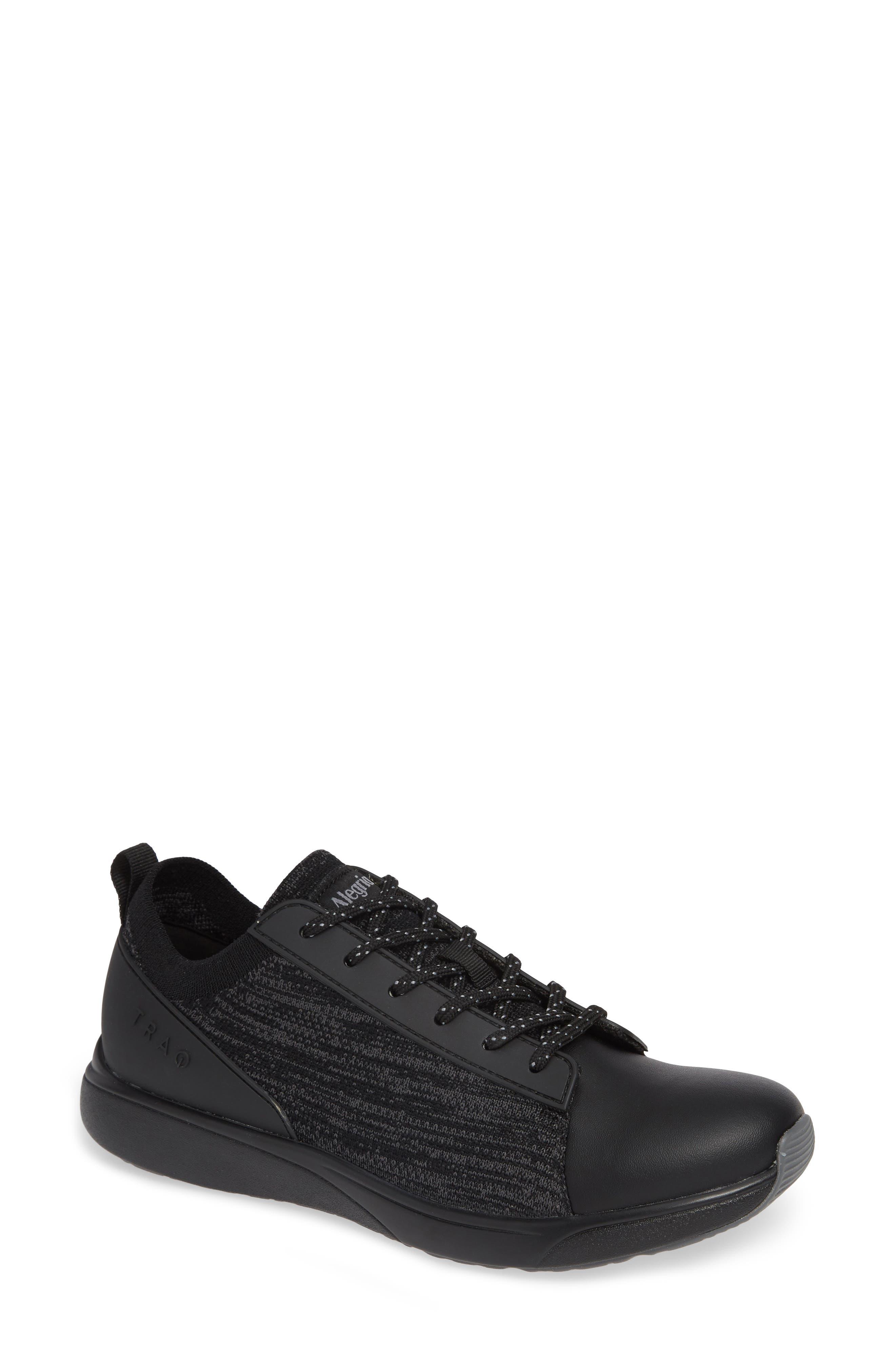ALEGRIA Qest Sneaker, Main, color, BLACK LEATHER