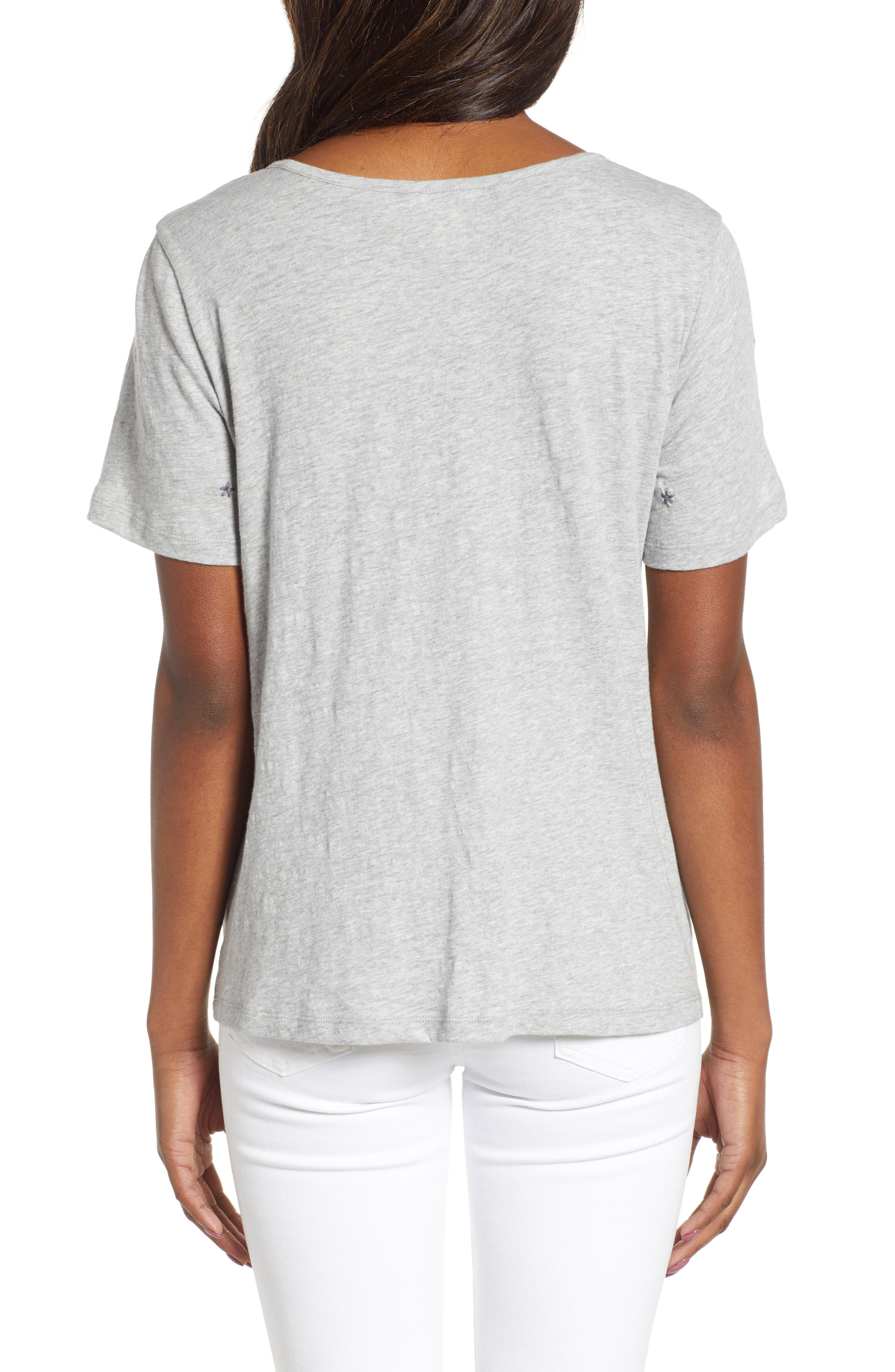 CASLON<SUP>®</SUP>, Embroidered Twist Front Top, Alternate thumbnail 2, color, GREY HEATHER