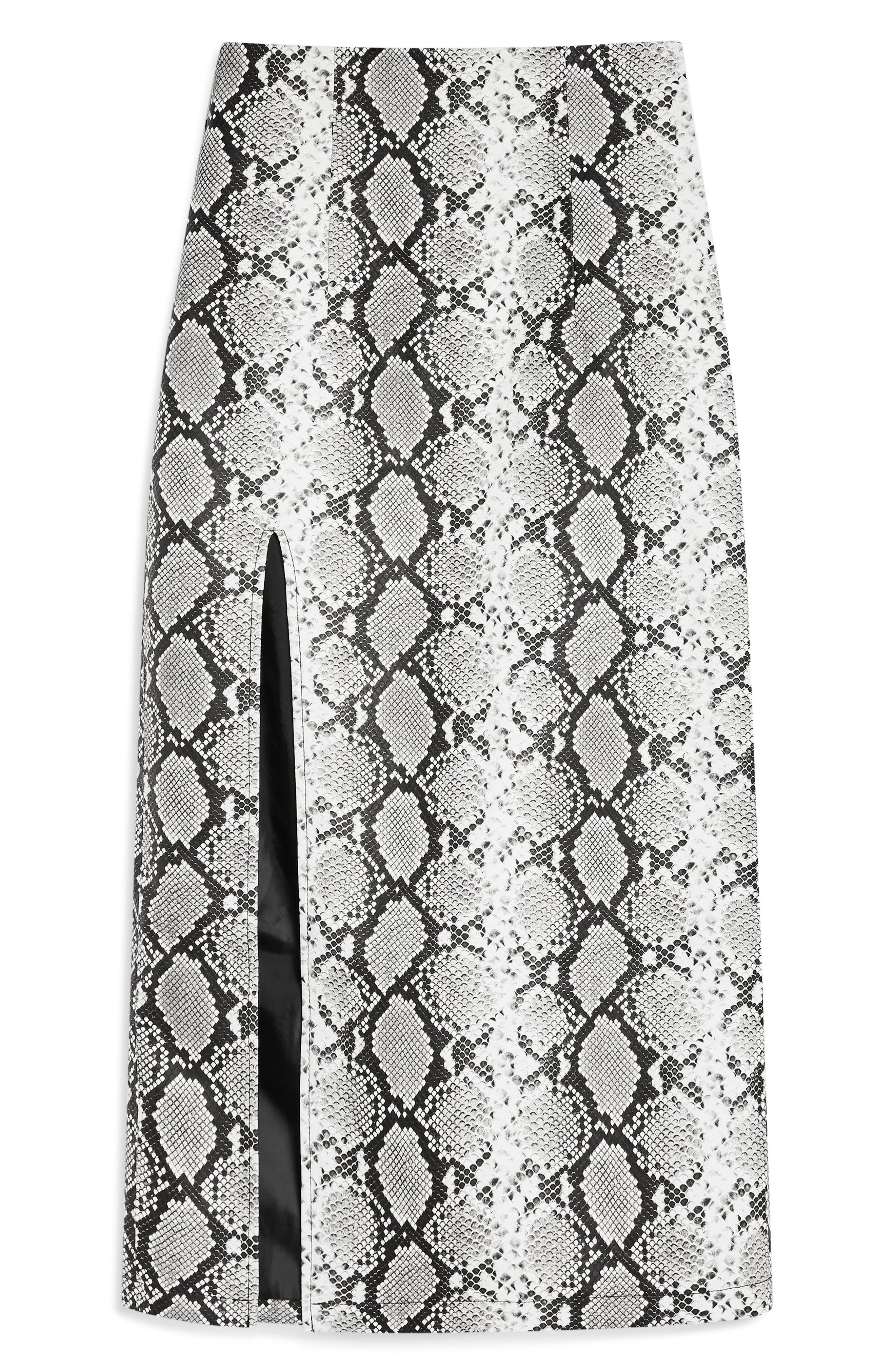 TOPSHOP, Snake Print Faux Leather Midi Skirt, Alternate thumbnail 4, color, 002