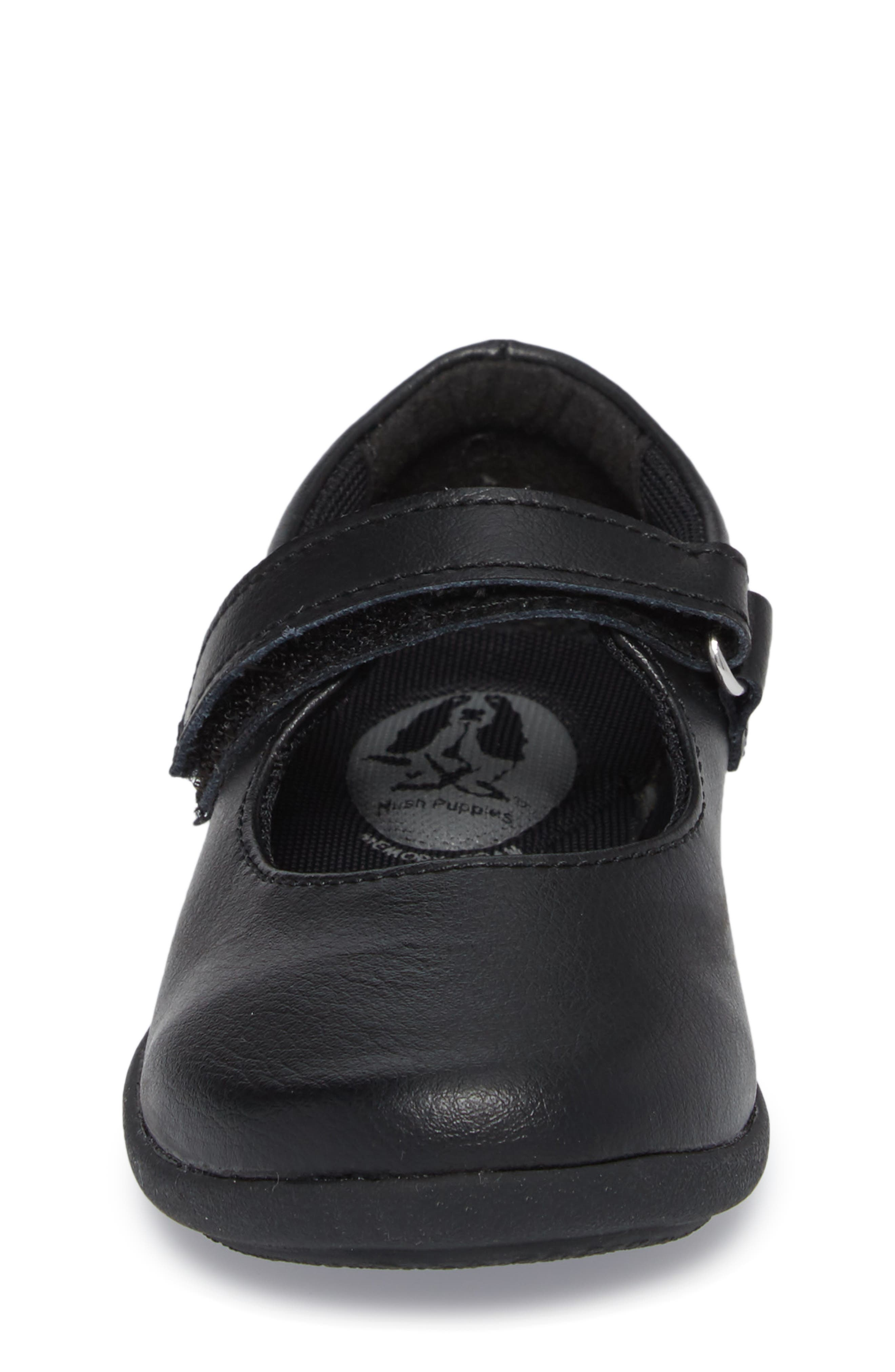 HUSH PUPPIES<SUP>®</SUP>, Lexi Mary Jane Flat, Alternate thumbnail 4, color, BLACK LEATHER