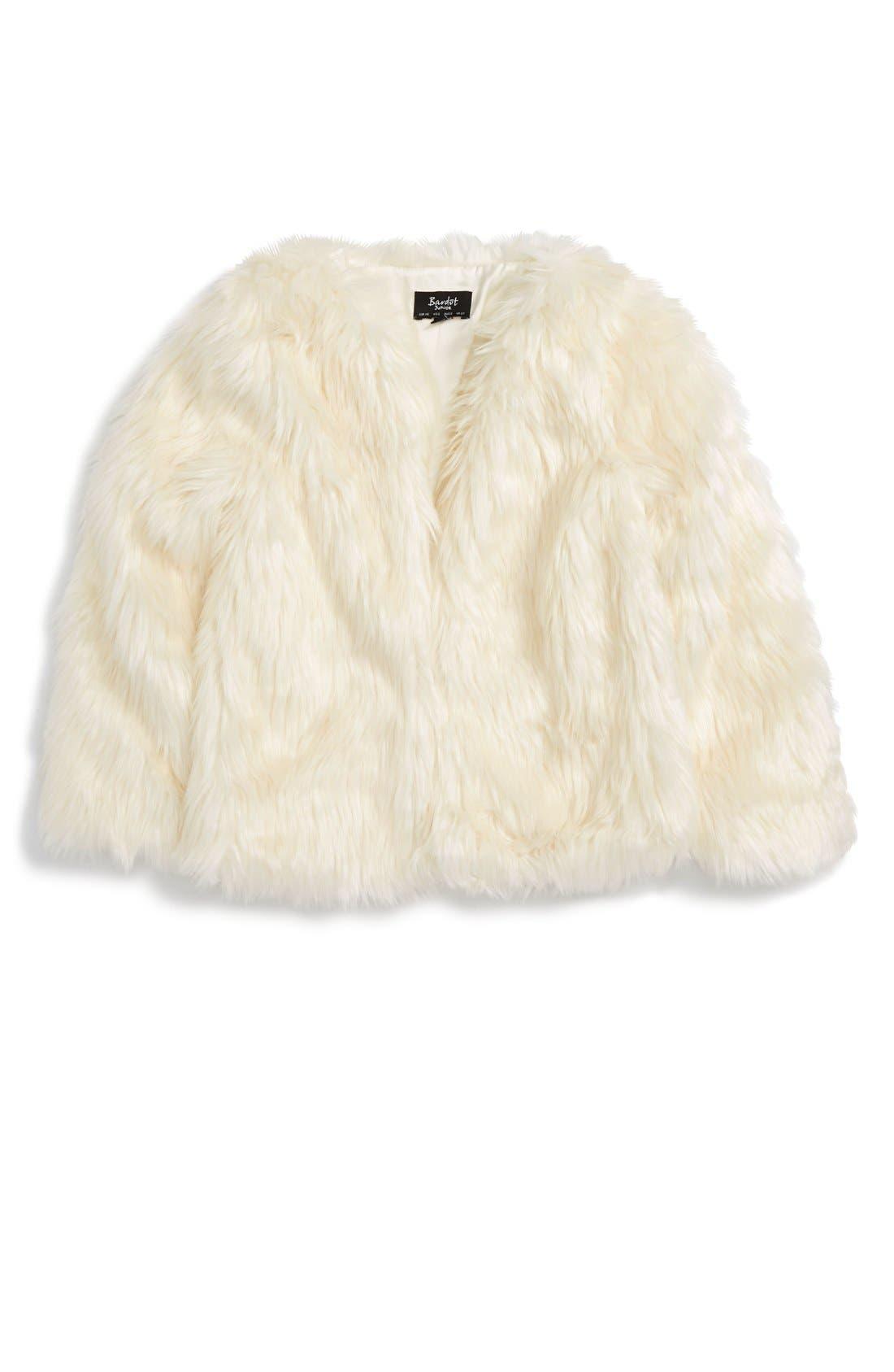 BARDOT JUNIOR, Faux Fur Jacket, Main thumbnail 1, color, 102