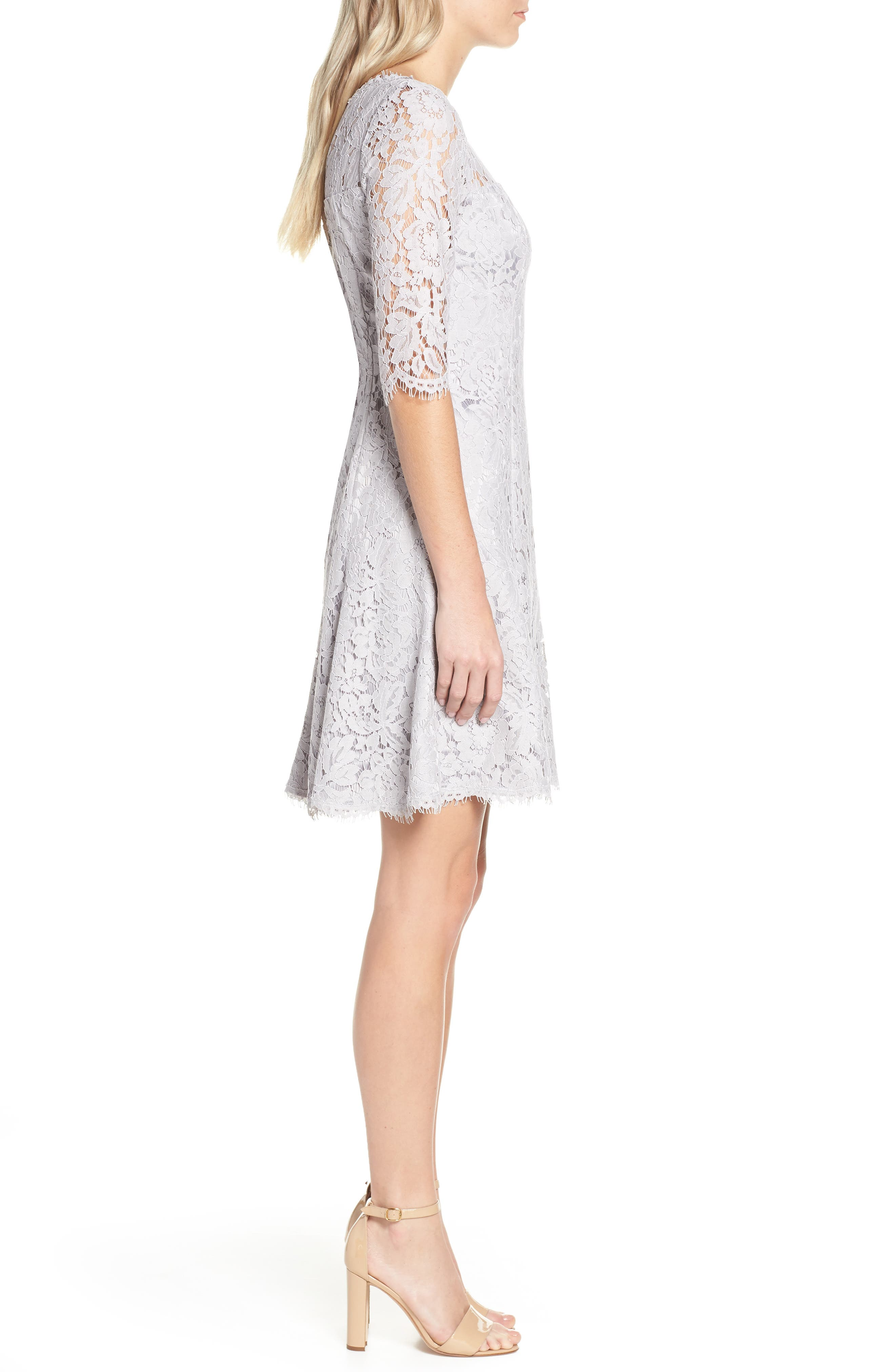 ELIZA J, Lace Fit & Flare Cocktail Dress, Alternate thumbnail 5, color, GREY
