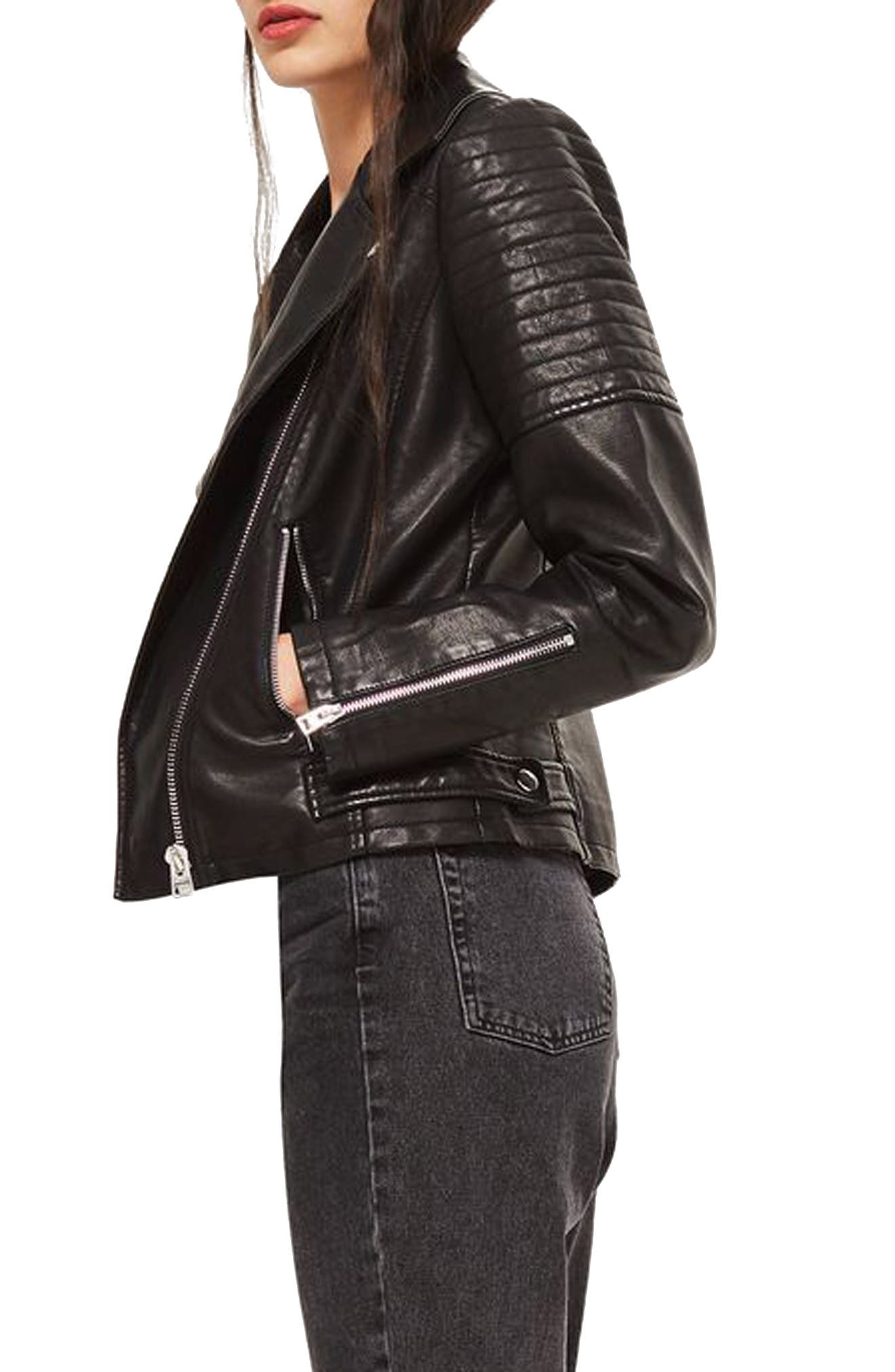 TOPSHOP, Blossom Faux Leather Biker Jacket, Alternate thumbnail 3, color, 001