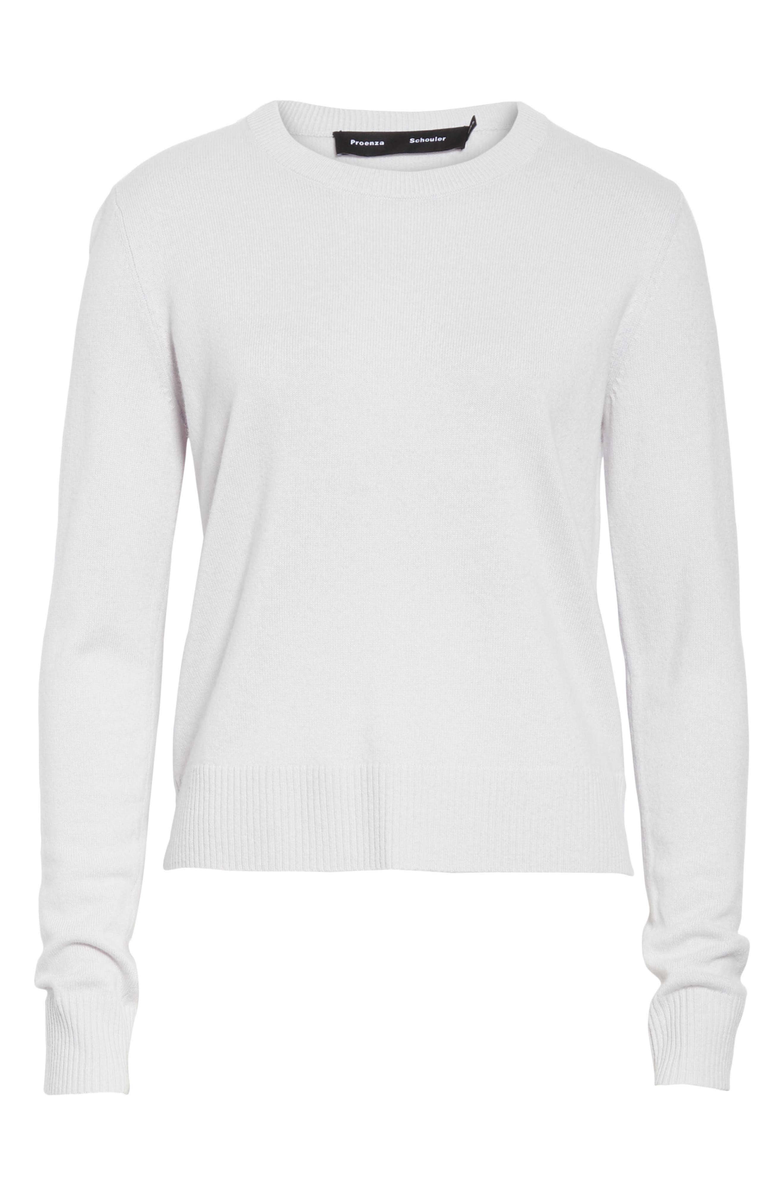 PROENZA SCHOULER, Cashmere Sweater, Alternate thumbnail 6, color, BLUE GREY