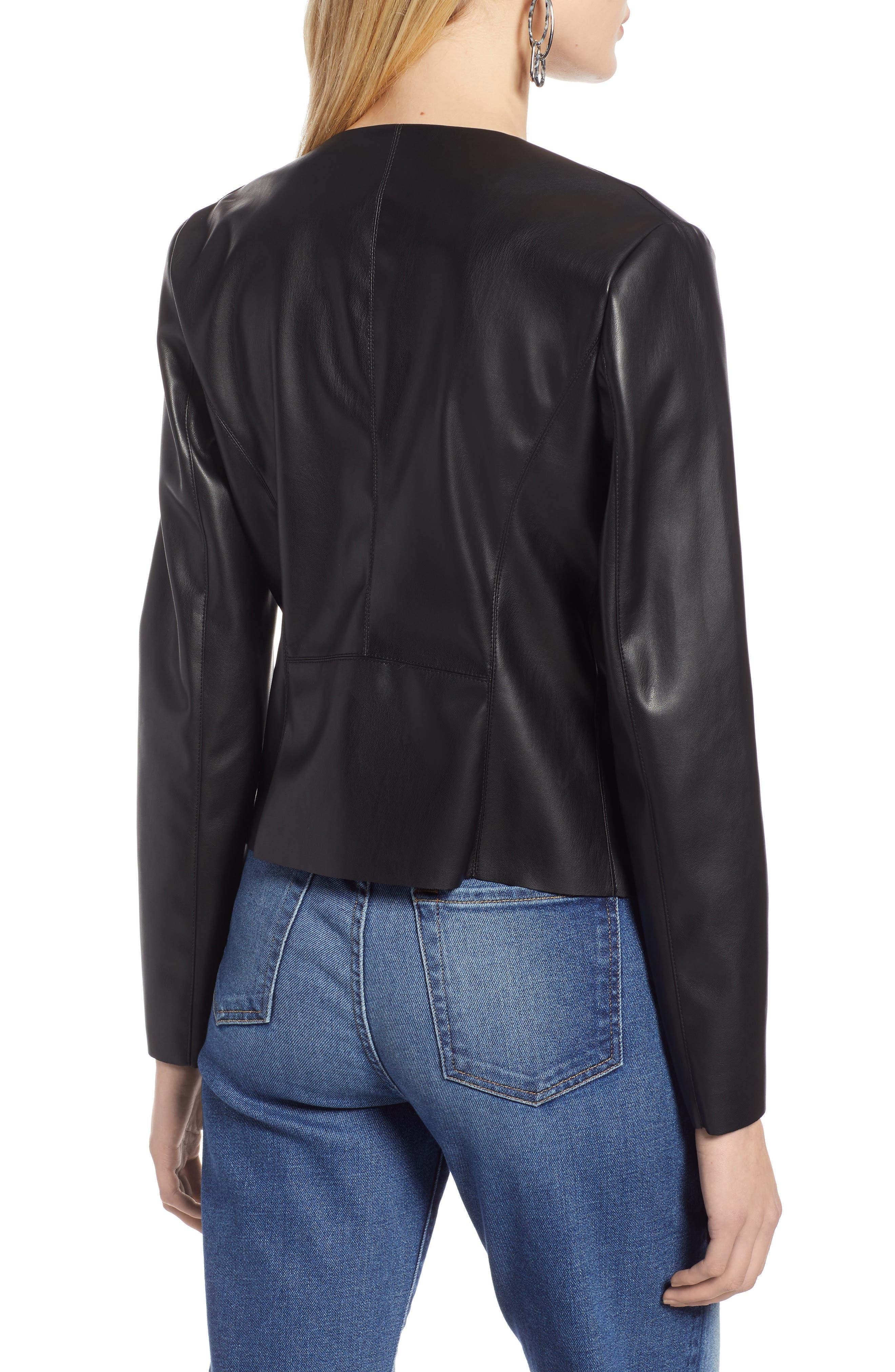 HALOGEN<SUP>®</SUP>, Drape Faux Leather Jacket, Alternate thumbnail 2, color, BLACK