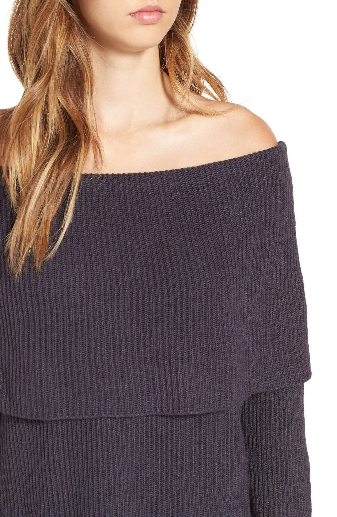 LEITH, Off the Shoulder Knit Sweater, Alternate thumbnail 4, color, 021
