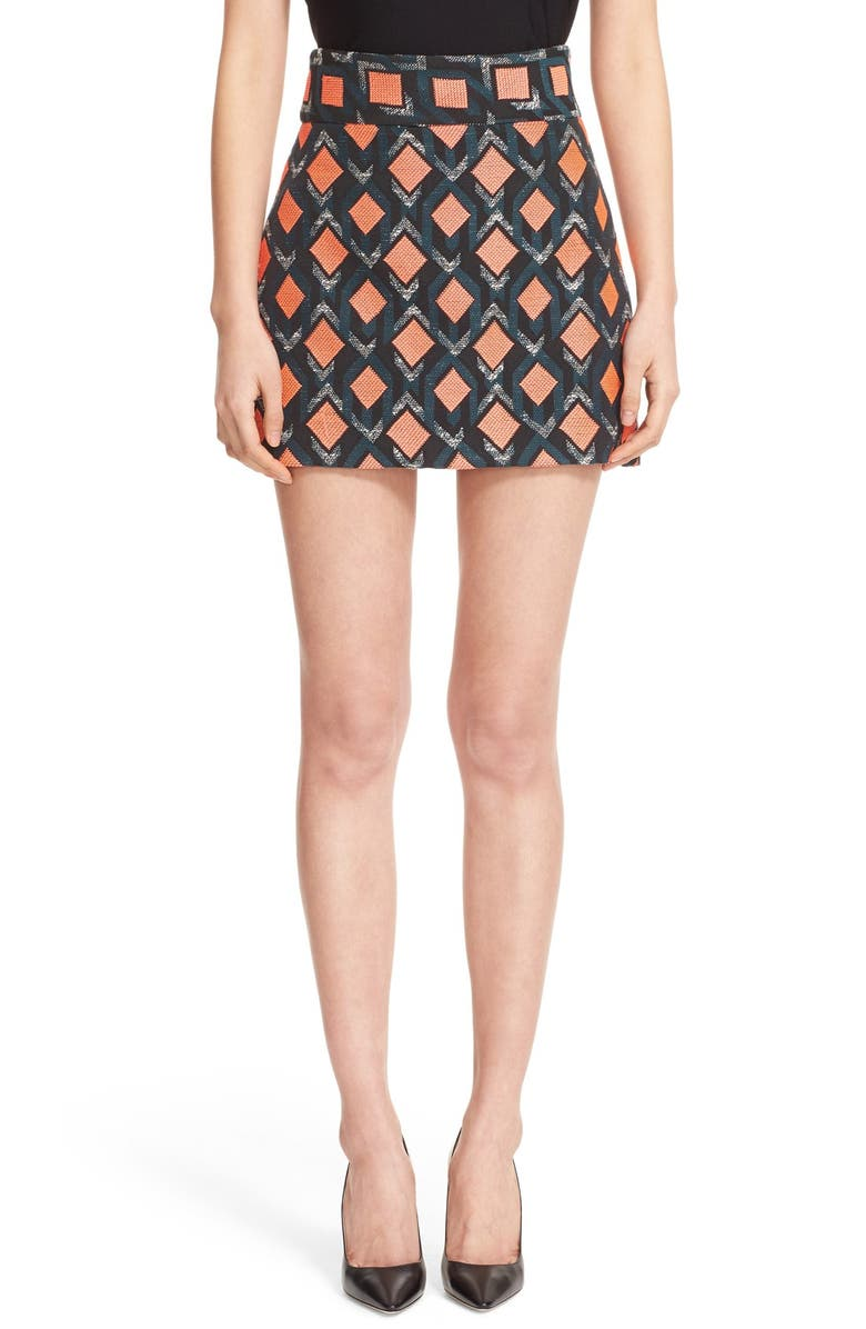 f967c77ea598bb MILLY Diamond Jacquard A-Line Miniskirt, Main, color, 650