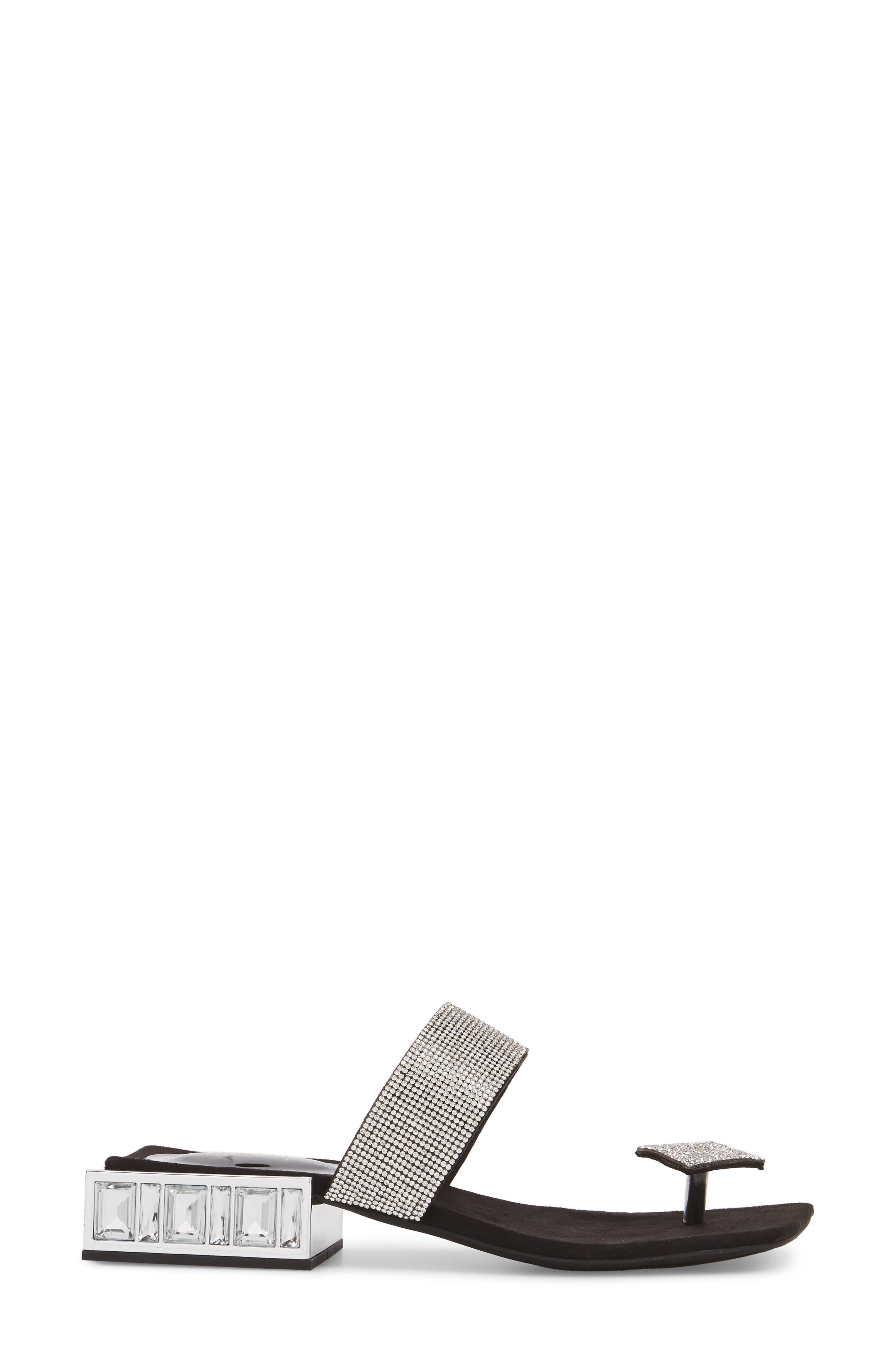 JEFFREY CAMPBELL, Alise Embellished Sandal, Alternate thumbnail 3, color, BLACK SUEDE/ SILVER