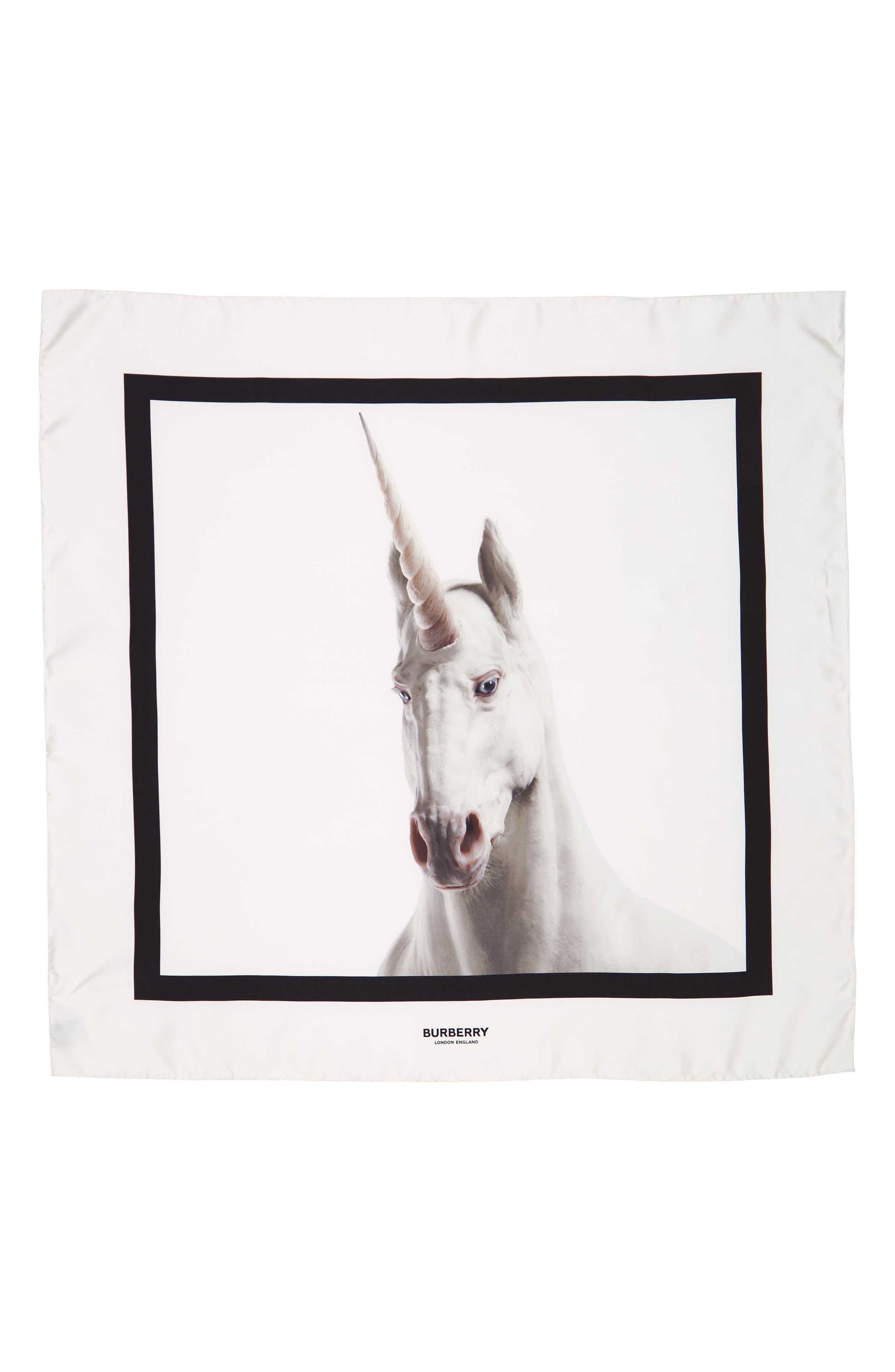 BURBERRY, Unicorn Graphic Square Silk Scarf, Main thumbnail 1, color, WHITE