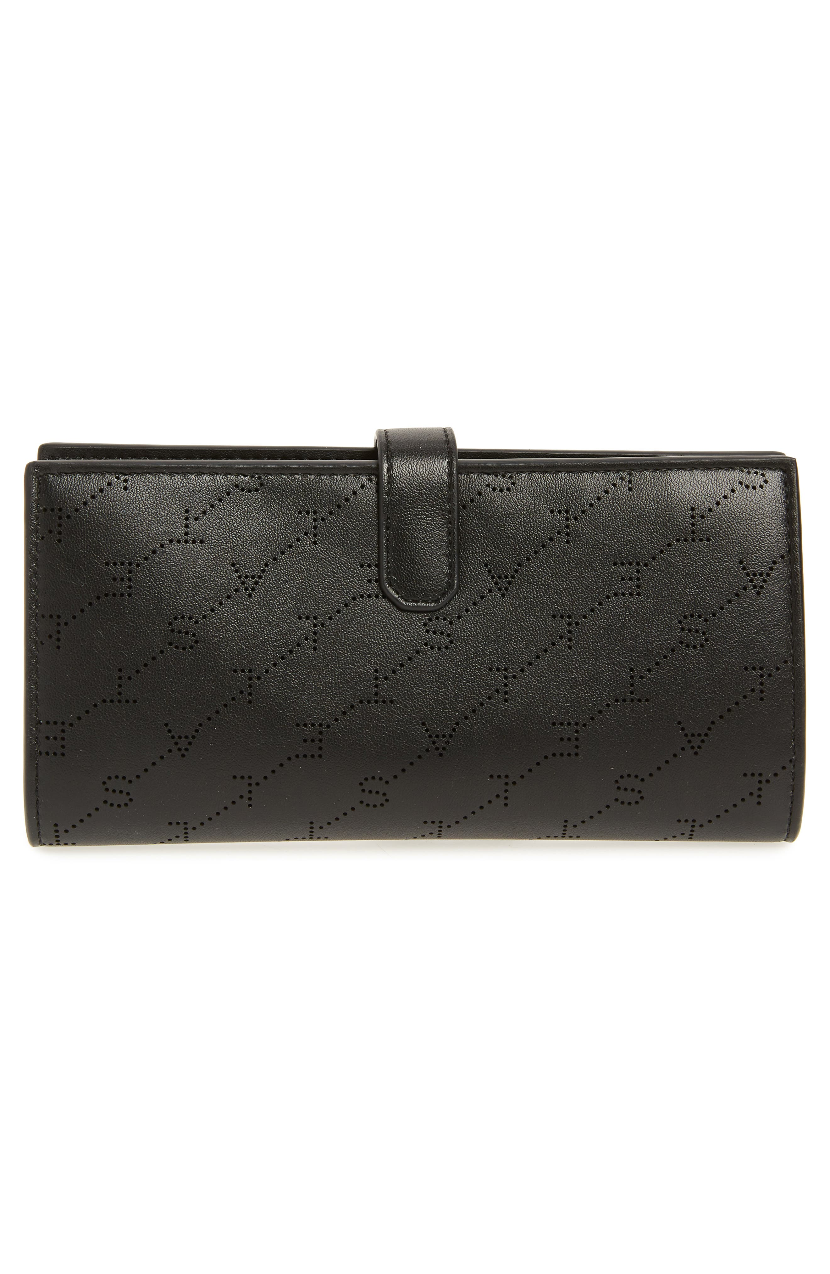 STELLA MCCARTNEY, Logo Perforated Faux Leather Continental Wallet, Alternate thumbnail 3, color, BLACK